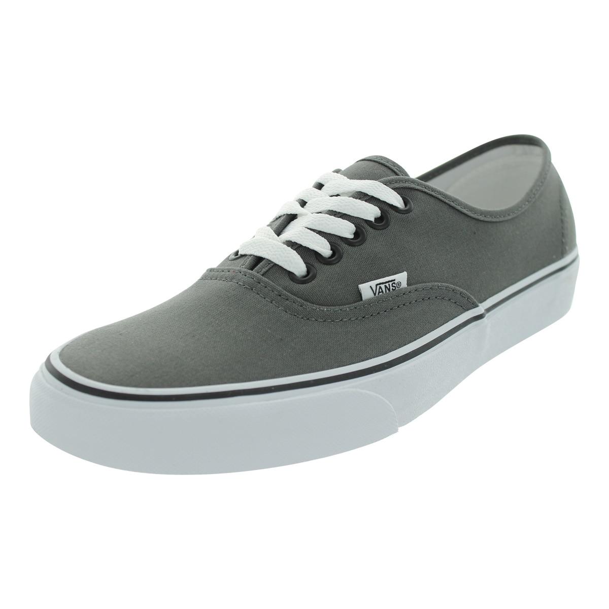 8e62986240 Shop Vans Men s Authentic Pewter Black Canvas Skate Shoes - Free ...