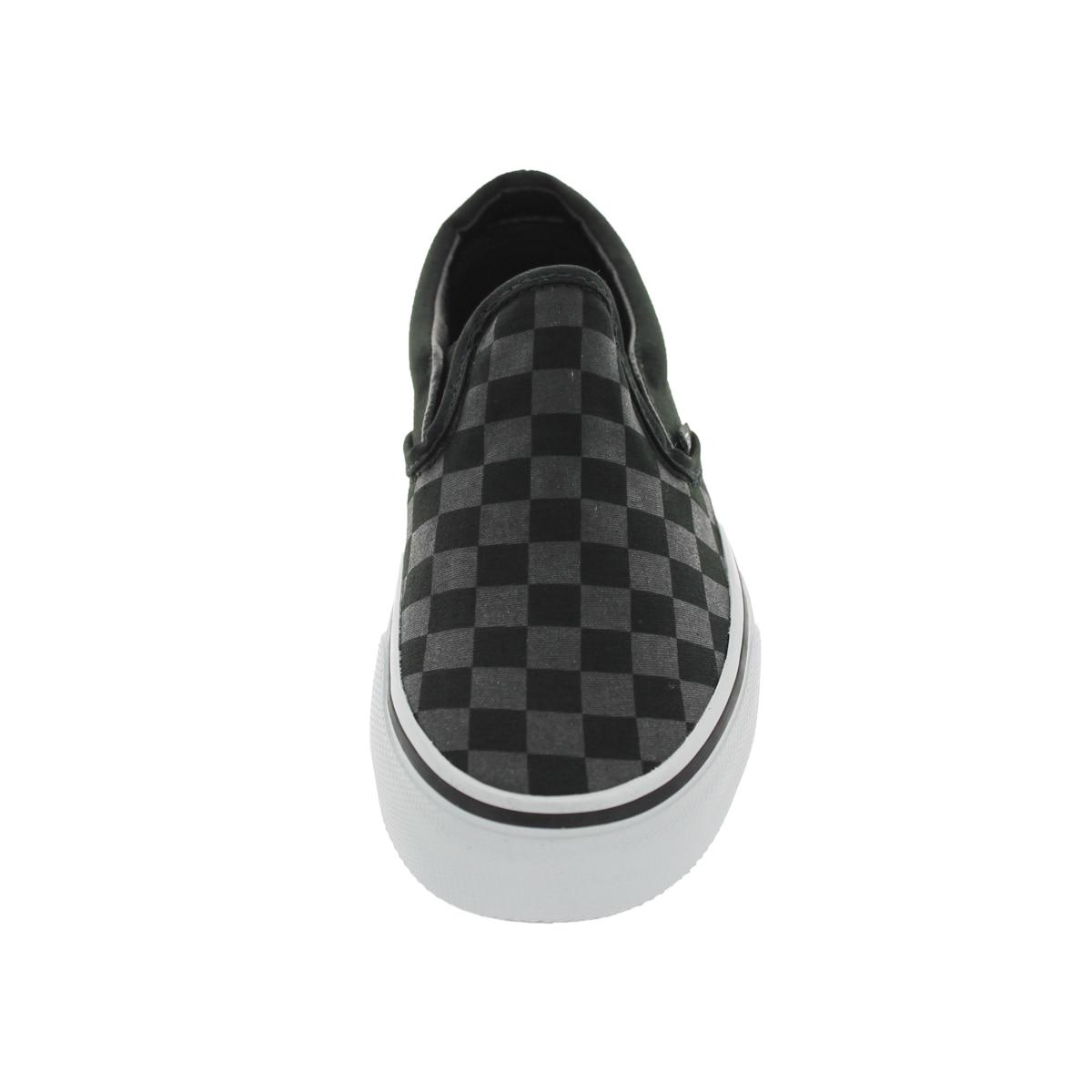vans slip on checkerboard black black