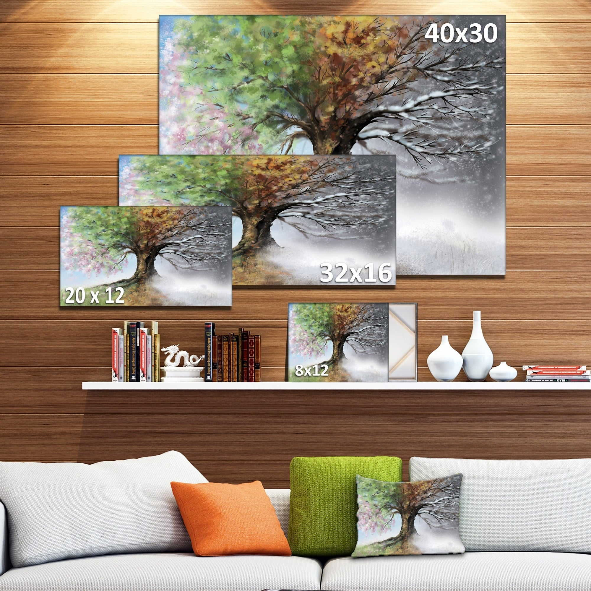 Shop Tree with Four Seasons - Tree Painting Canvas Art Print - On Sale - Free Shipping Today - Overstock.com - 12117250  sc 1 st  Overstock.com & Shop Tree with Four Seasons - Tree Painting Canvas Art Print - On ...