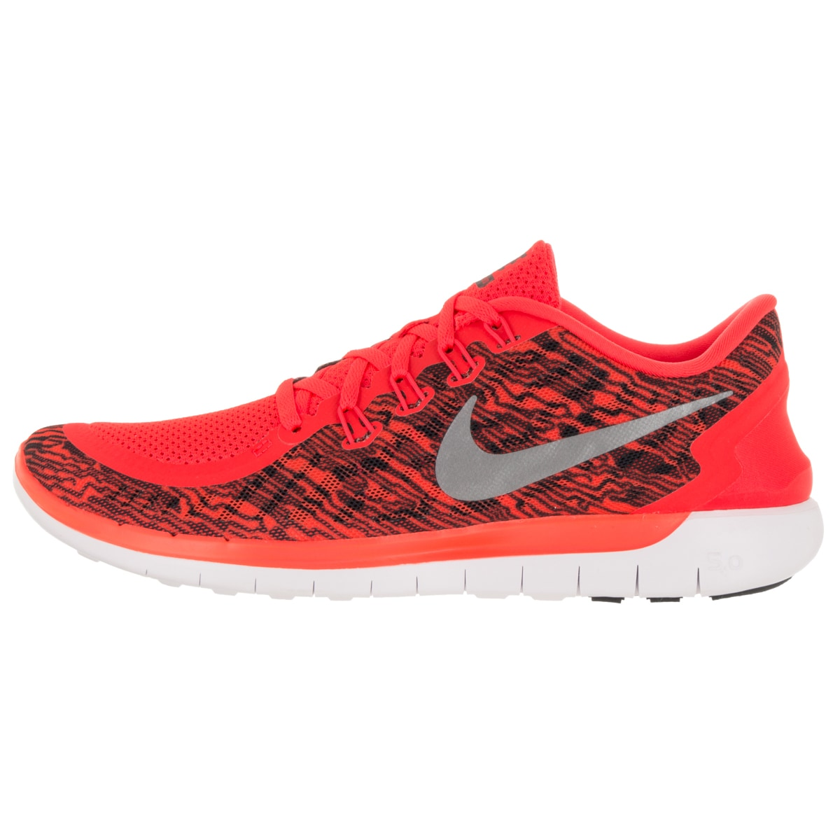 72381051f58a4 Shop Nike Men s Free 5.0 Print Brightt Crimson Black White Running Shoe -  Free Shipping Today - Overstock - 12118824