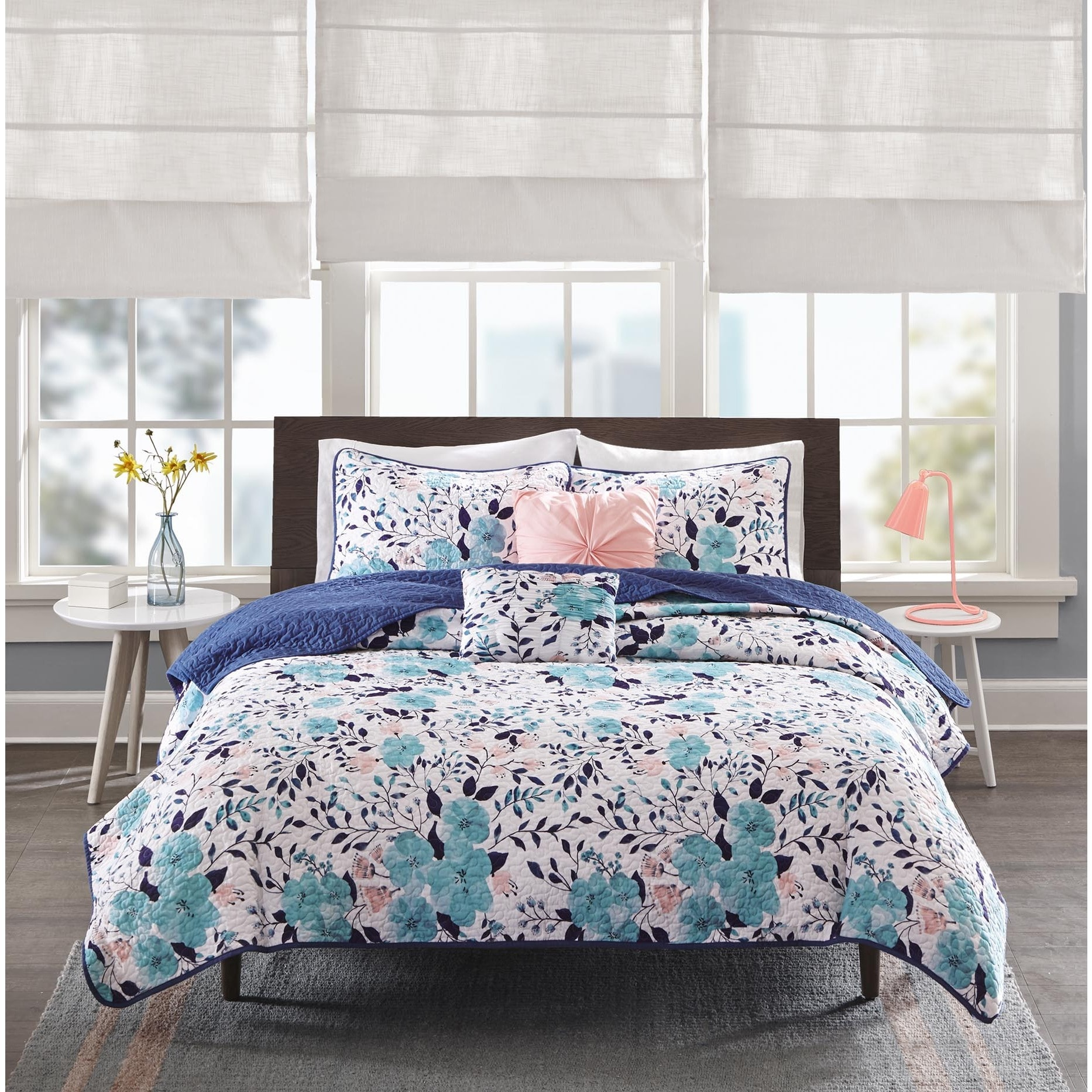 tiffany bath comforter today product piece vcny set free overstock bed shipping bedding dotty blue