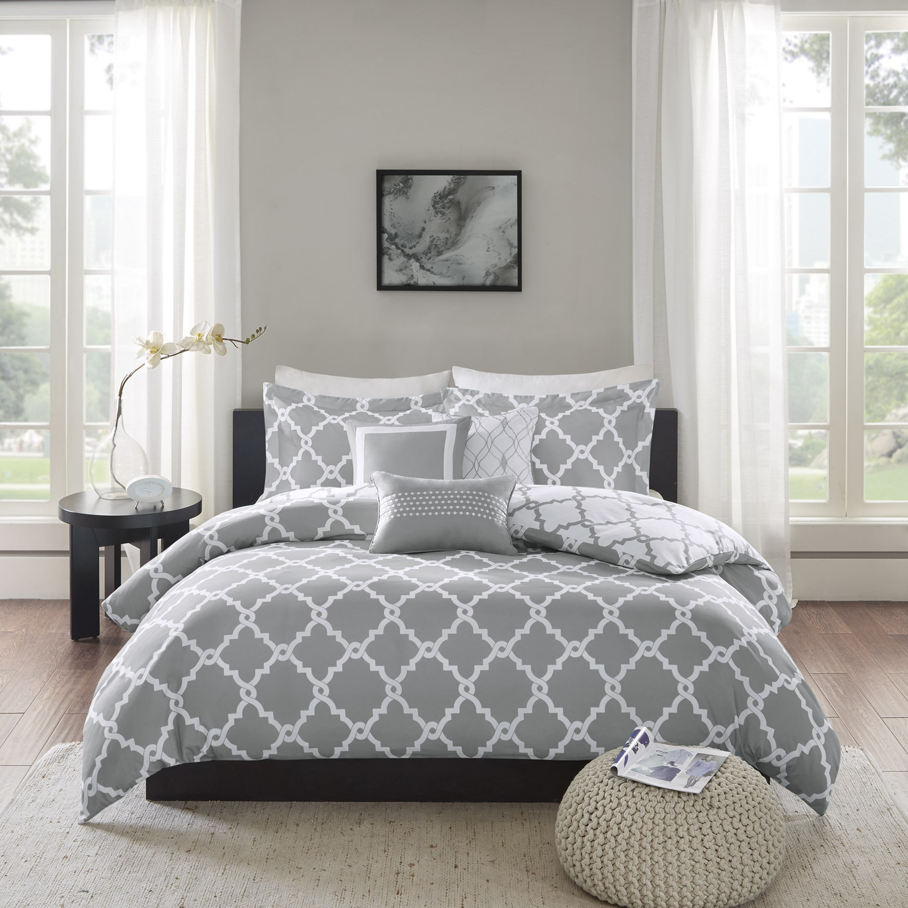 Madison Park Almaden Grey 6 Piece Reversible Duvet Cover Set Free Shipping Today 18980119