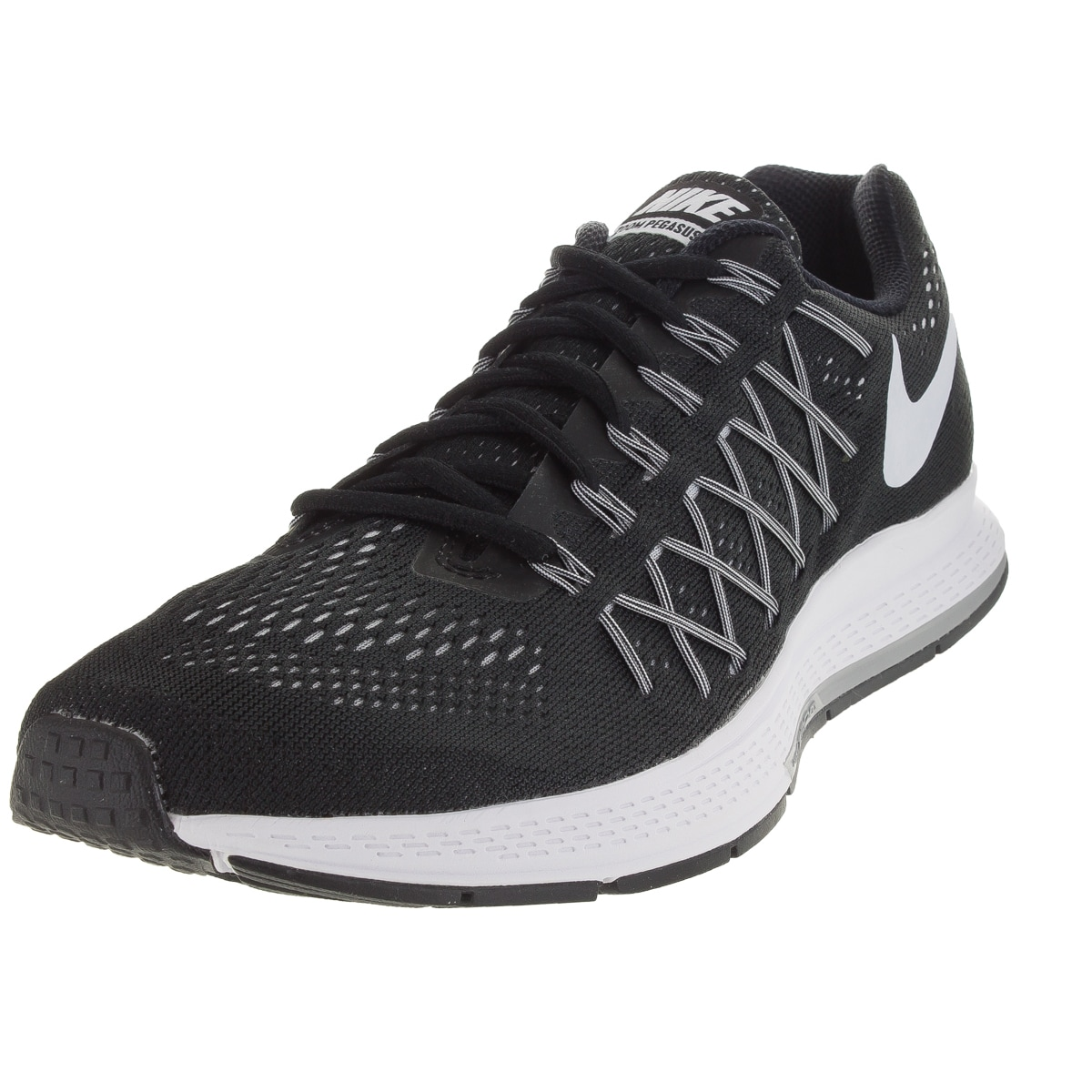 more photos 8076f 8aeee Nike Men s Air Zoom Pegasus 32 Black White Pure Platinum Running Shoe