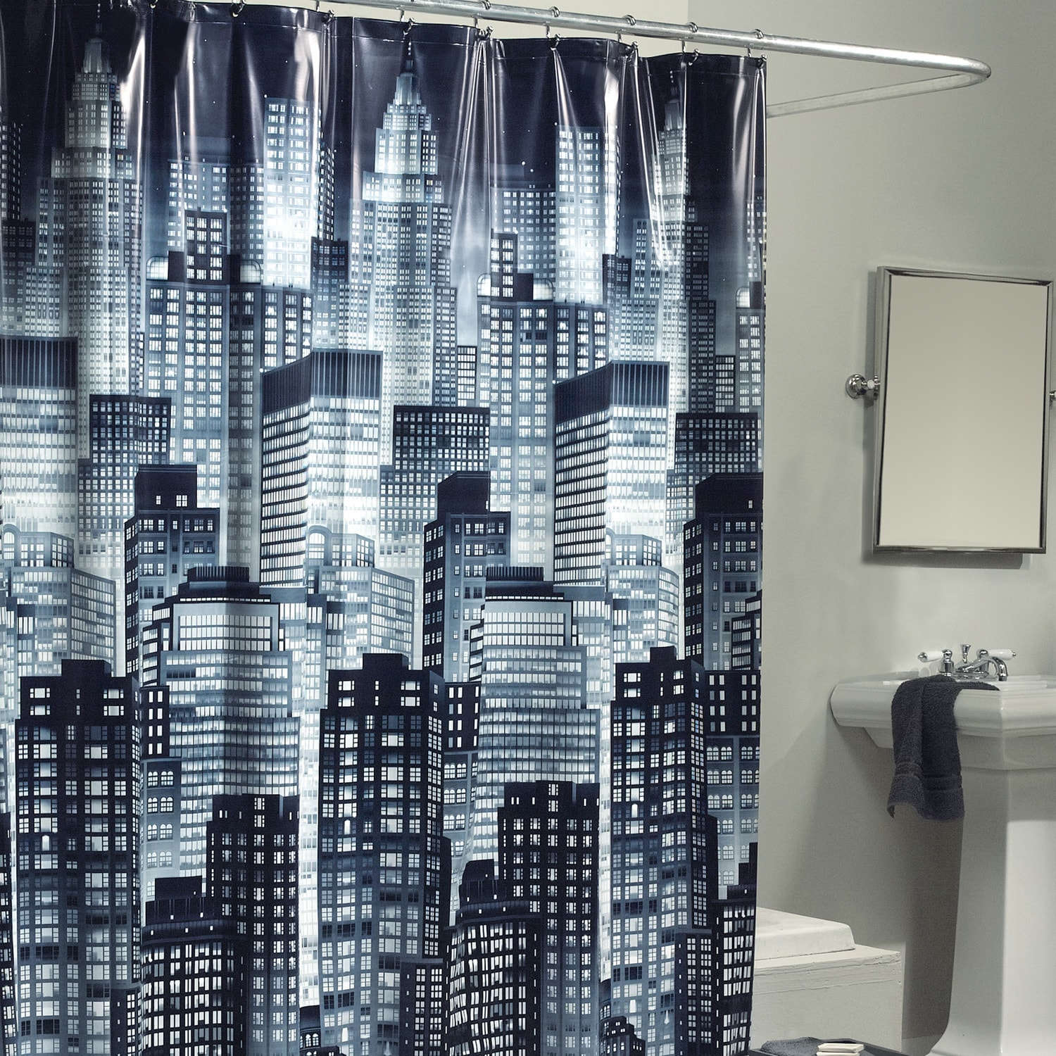 Shop Excell City Skyline Shower Curtain - Free Shipping On Orders ...