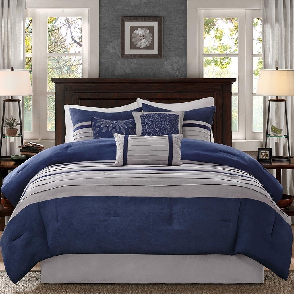 madison castello bedding park set comforter blue piece collection signature