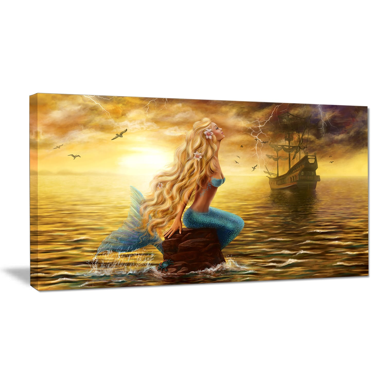 Shop Sea Mermaid with Ghost Ship - Seascape Digital Art Canvas Print ...