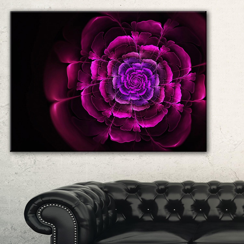 Fractal Purple Rose In Dark Fl Large Abstract Art Canvas Print