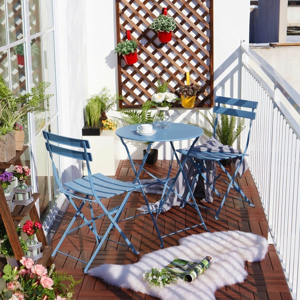 Shop Grand Patio Steel 3 Piece Outdoor Folding Bistro Table Set   Free  Shipping Today   Overstock.com   12128035