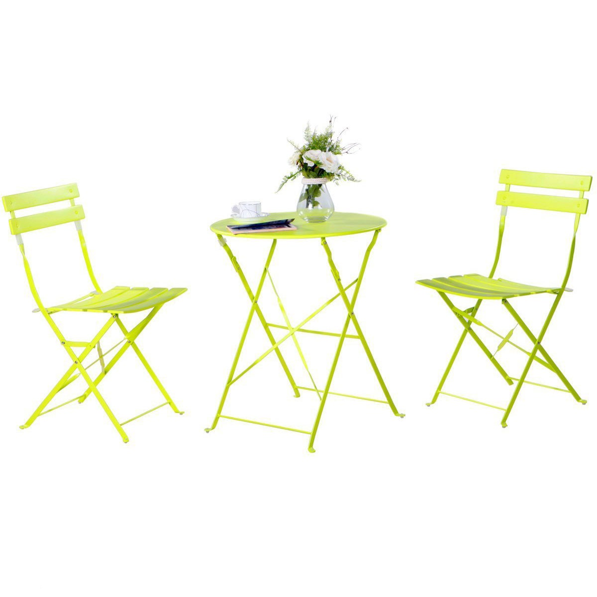 Shop Grand Patio Steel 3-piece Outdoor Folding Bistro Table Set - Free Shipping Today - Overstock.com - 12128035  sc 1 st  Overstock.com & Shop Grand Patio Steel 3-piece Outdoor Folding Bistro Table Set ...