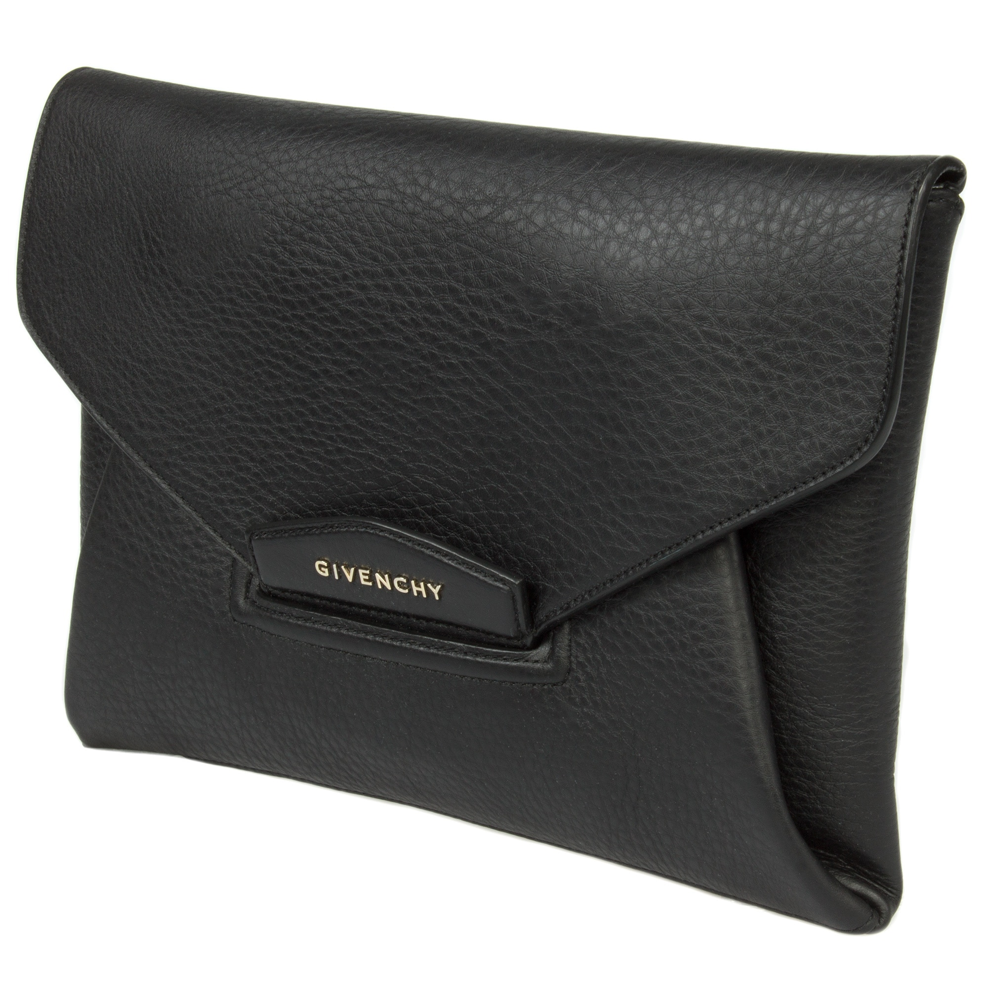 c7f4555b458 Shop Givenchy Antigona Envelope Black Matte Grained Medium Goatskin Leather  Clutch (As Is Item) - Ships To Canada - Overstock.ca - 12705668