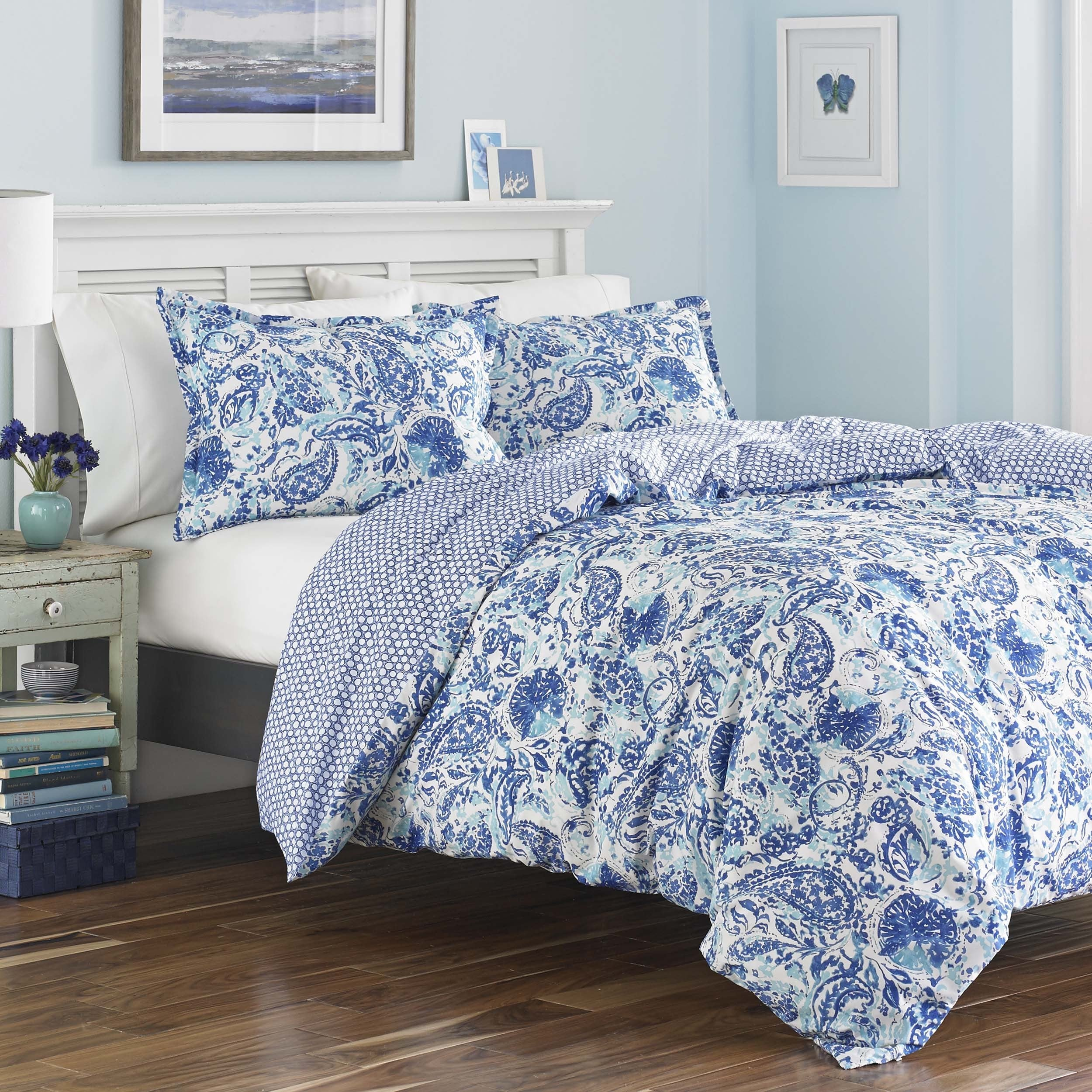 Poppy Fritz Brooke Cobalt And White Paisley Cotton Duvet Cover Set Free Shipping Today 18986630