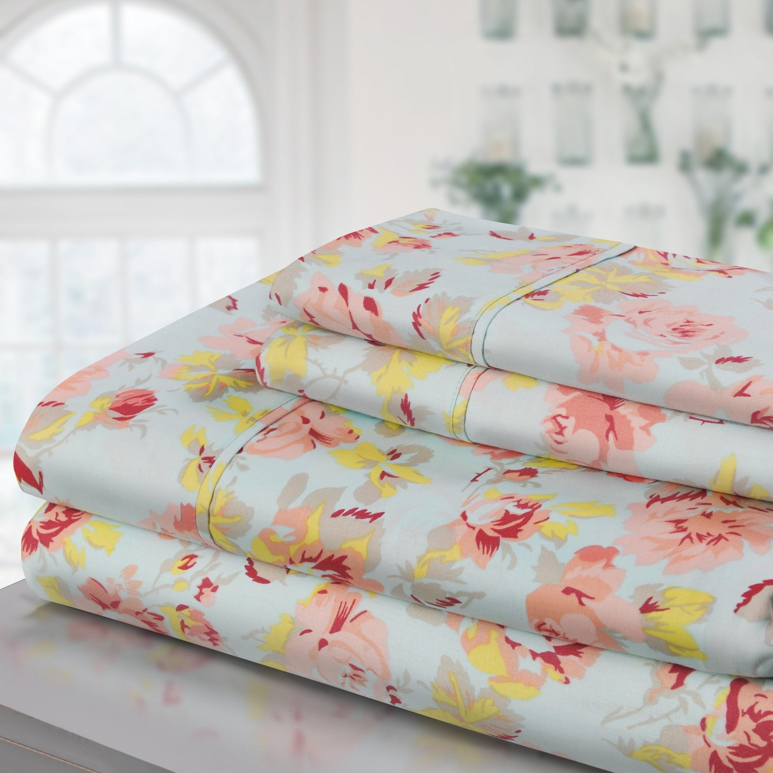 Shop Superior 300 Thread Count Deep Pocket Printed Cotton Sheet Set