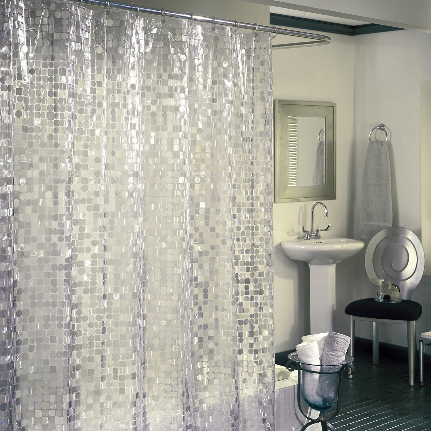 Shop Excell Disco 7 Gauge Vinyl Shower Curtain   On Sale   Free Shipping On  Orders Over $45   Overstock.com   12131590