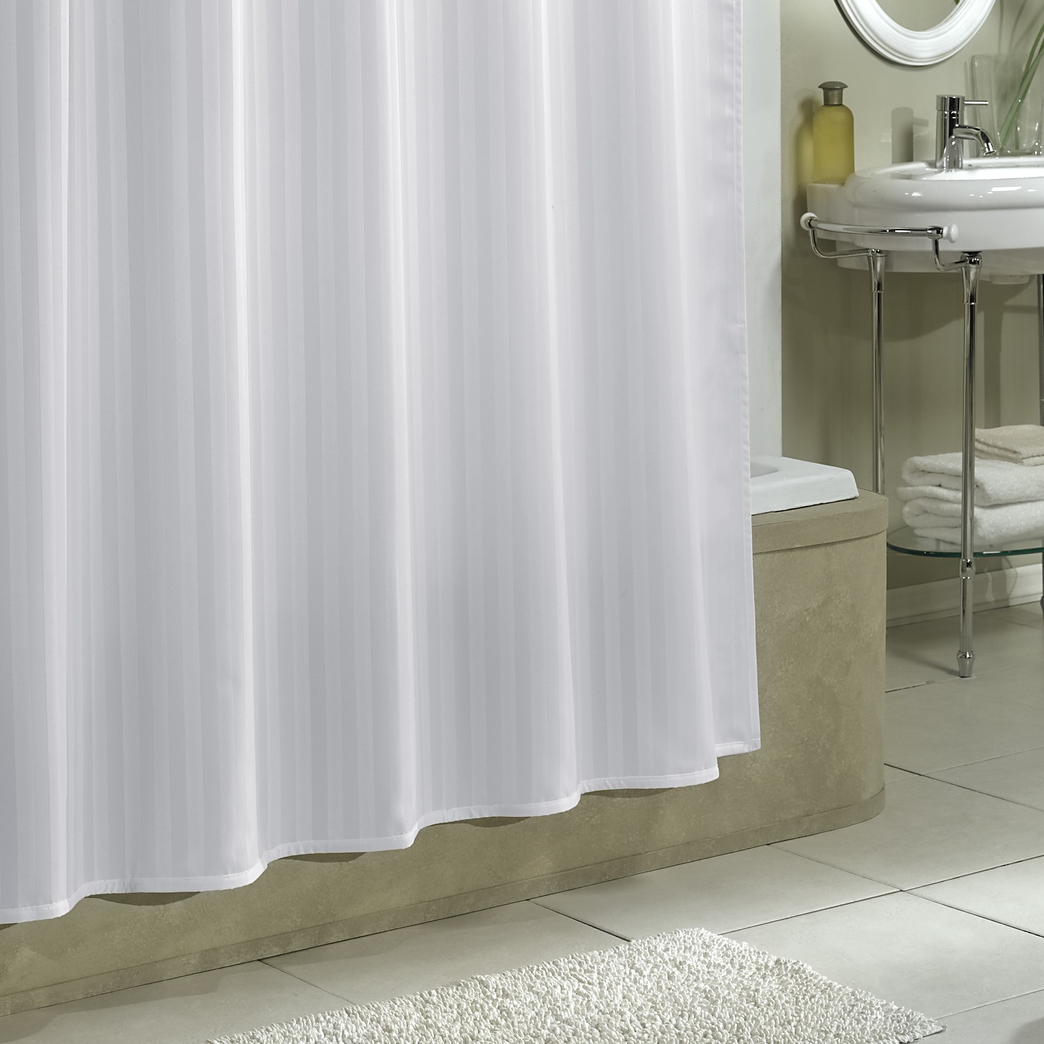 Shop Excell White Damask Stripe Fabric Shower Curtain Liner