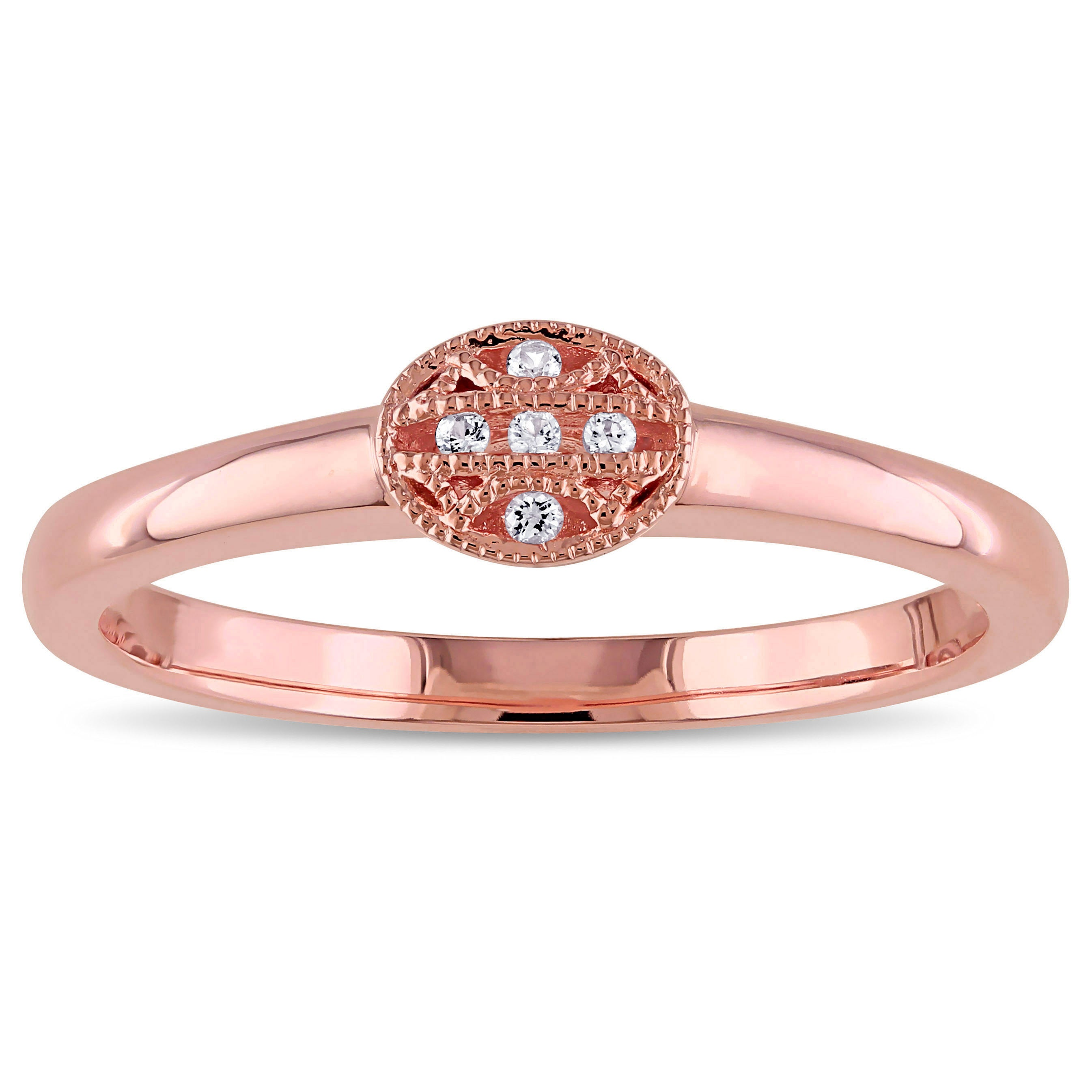 Shop V1969 Italia White Sapphire Tapestry Ring In Rose Gold Plated ...