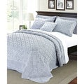 Serenta Faux Fur Quilted Tatami 4-Piece Bedspread Set King Size in Gray(As Is Item)
