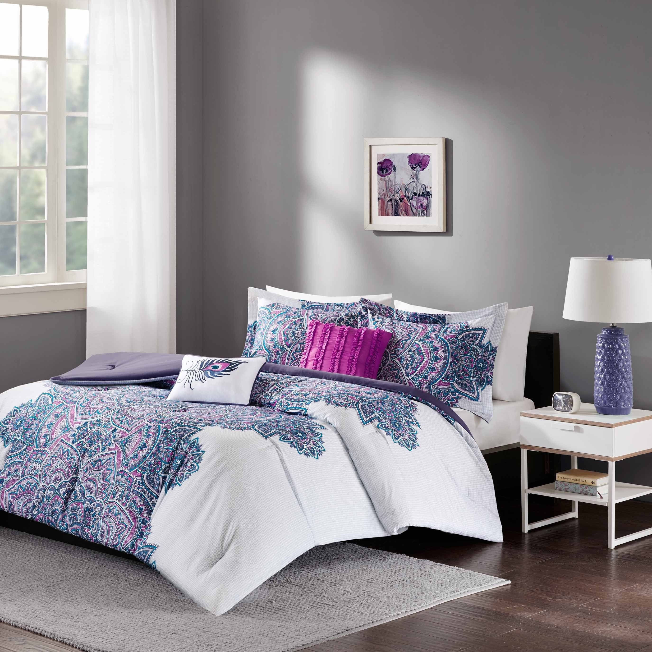doodled decorative includes quilt circles zone comforter sham carly mi itm twin purple tapes pillow set dots polka xl twill