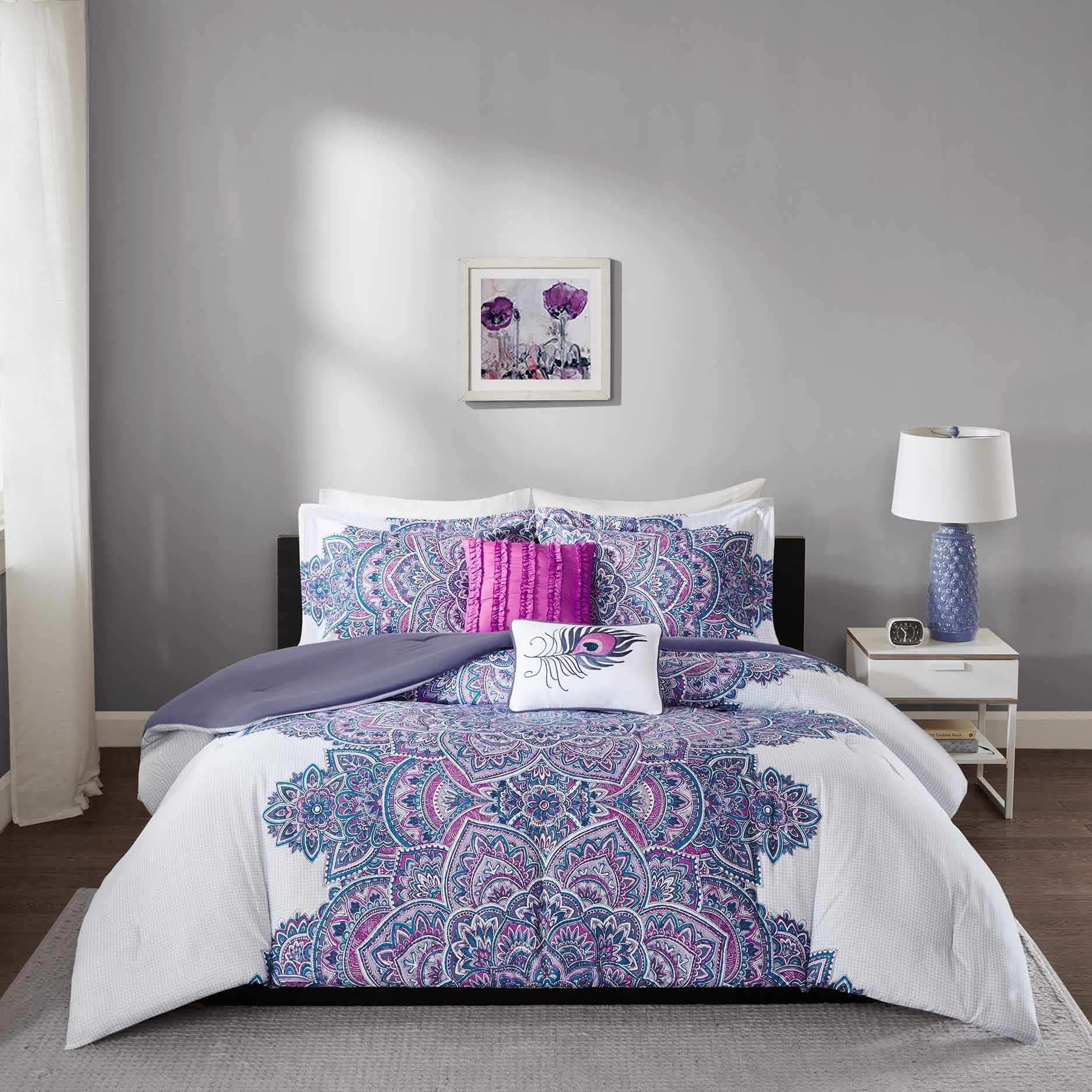 embroidery itm ivory gray pc king purple striped stripe comforter applique lilac set violet floral