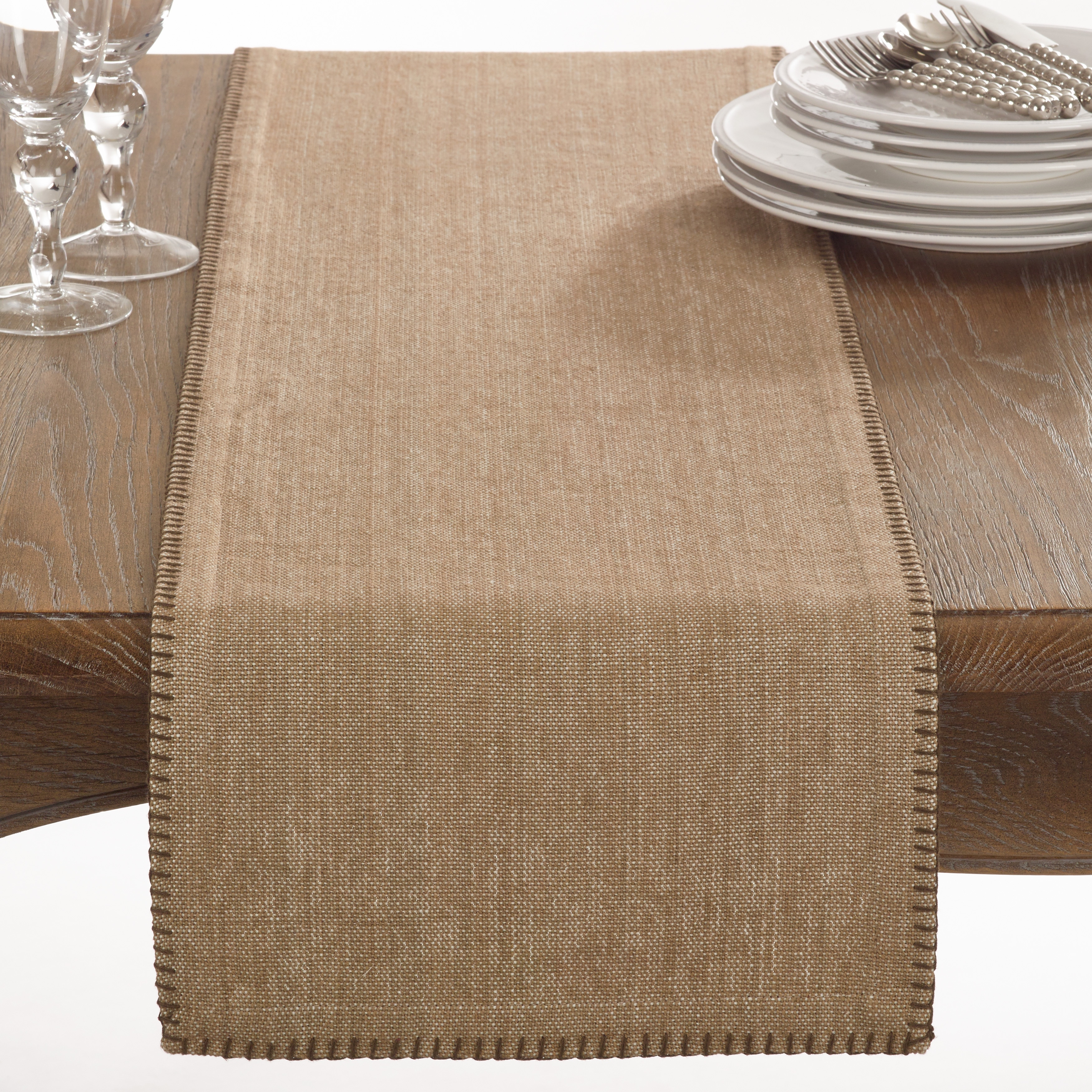 Incroyable Shop Celena Collection Whip Stitched Design Cotton Table Runner   On Sale    Free Shipping Today   Overstock.com   12137567