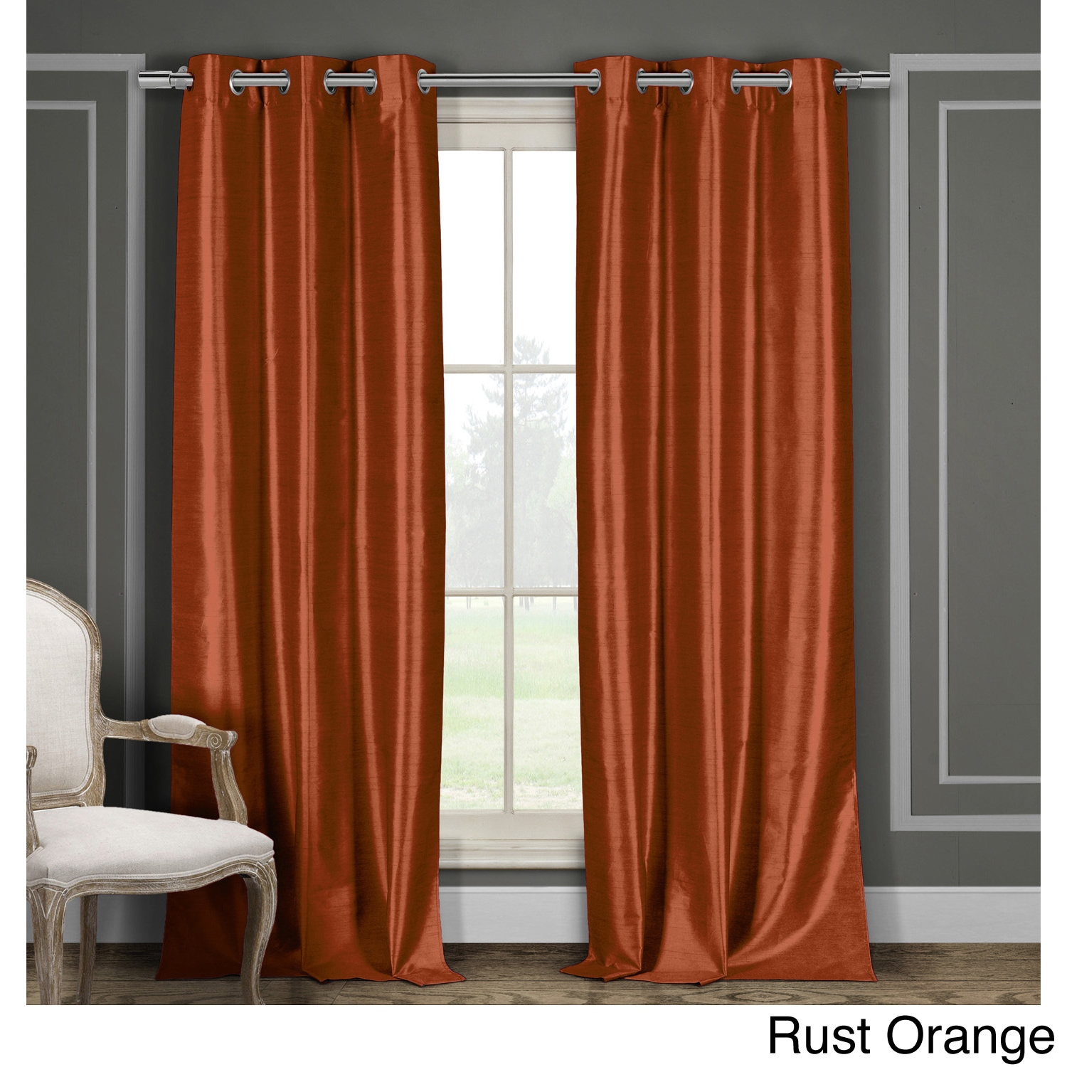 faux orange p ring stylish plain top eyelet curtains colour asp panels silk lined curtain