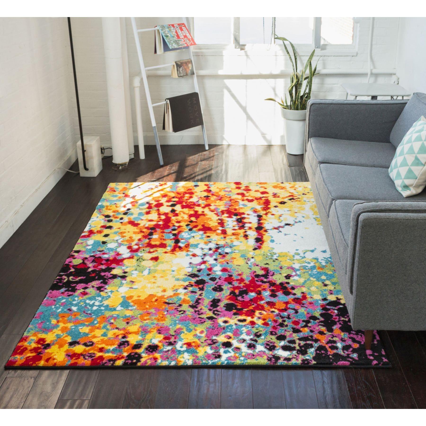 Well Woven Modern Bright Paint Splash Abstract Multi Area Rug 53