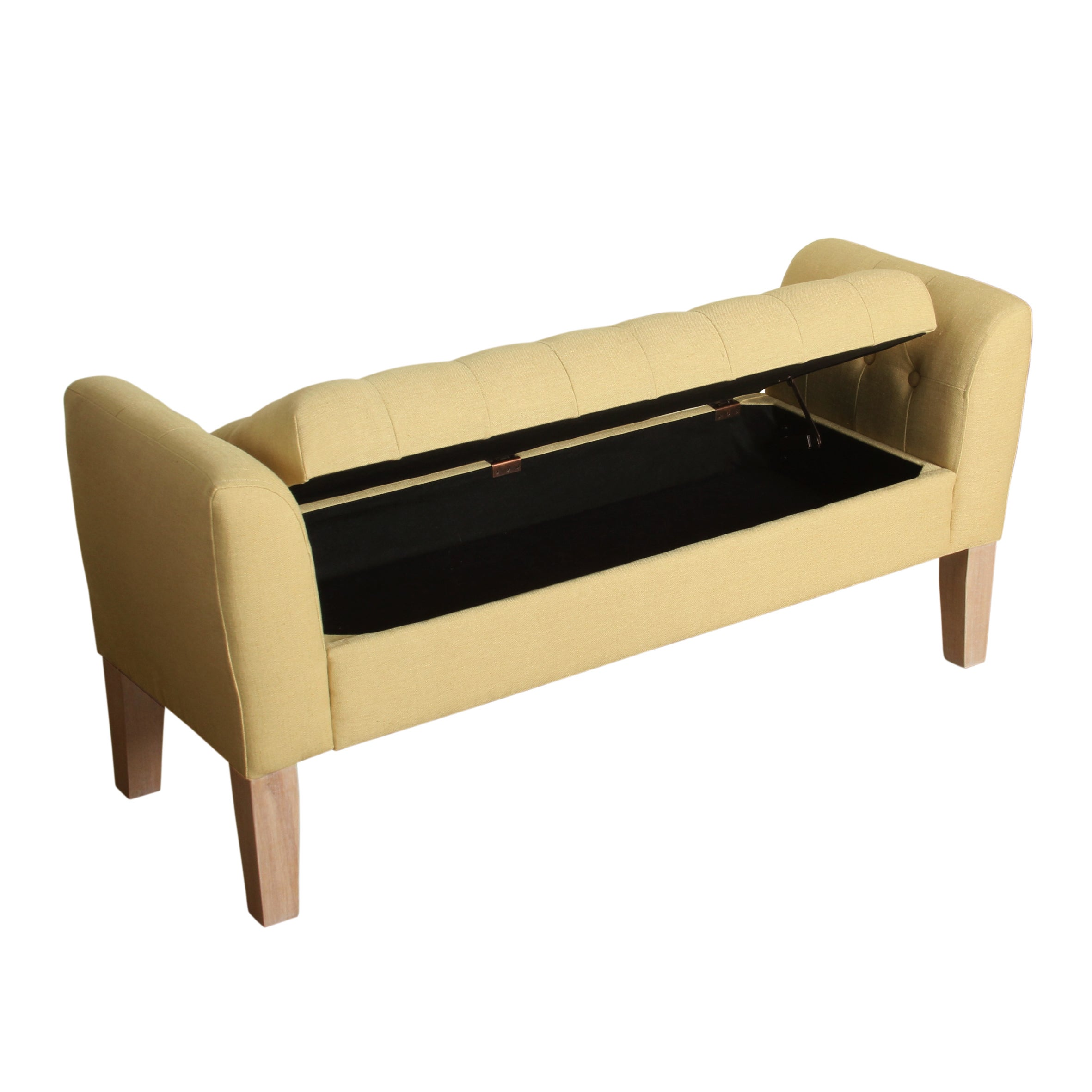 Homepop Kate Tufted Storage Bench Settee Soft Yellow Free Shipping Today 12138395