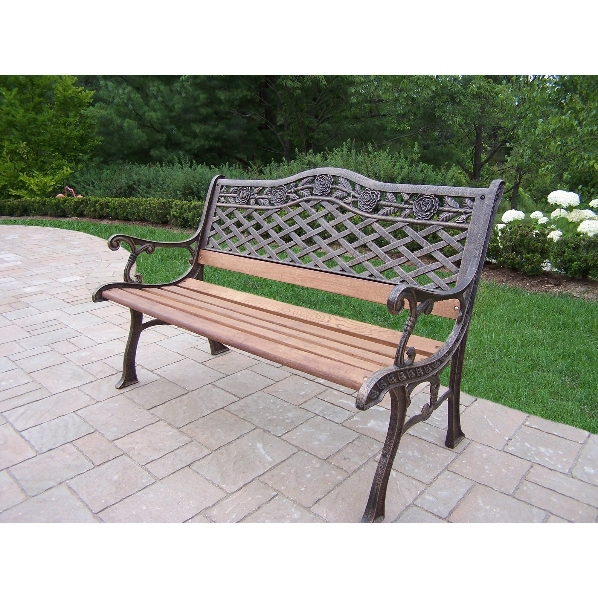 Shop oakland living corporation dakota sun cast aluminum and wrought iron bench free shipping today overstock com 12140015