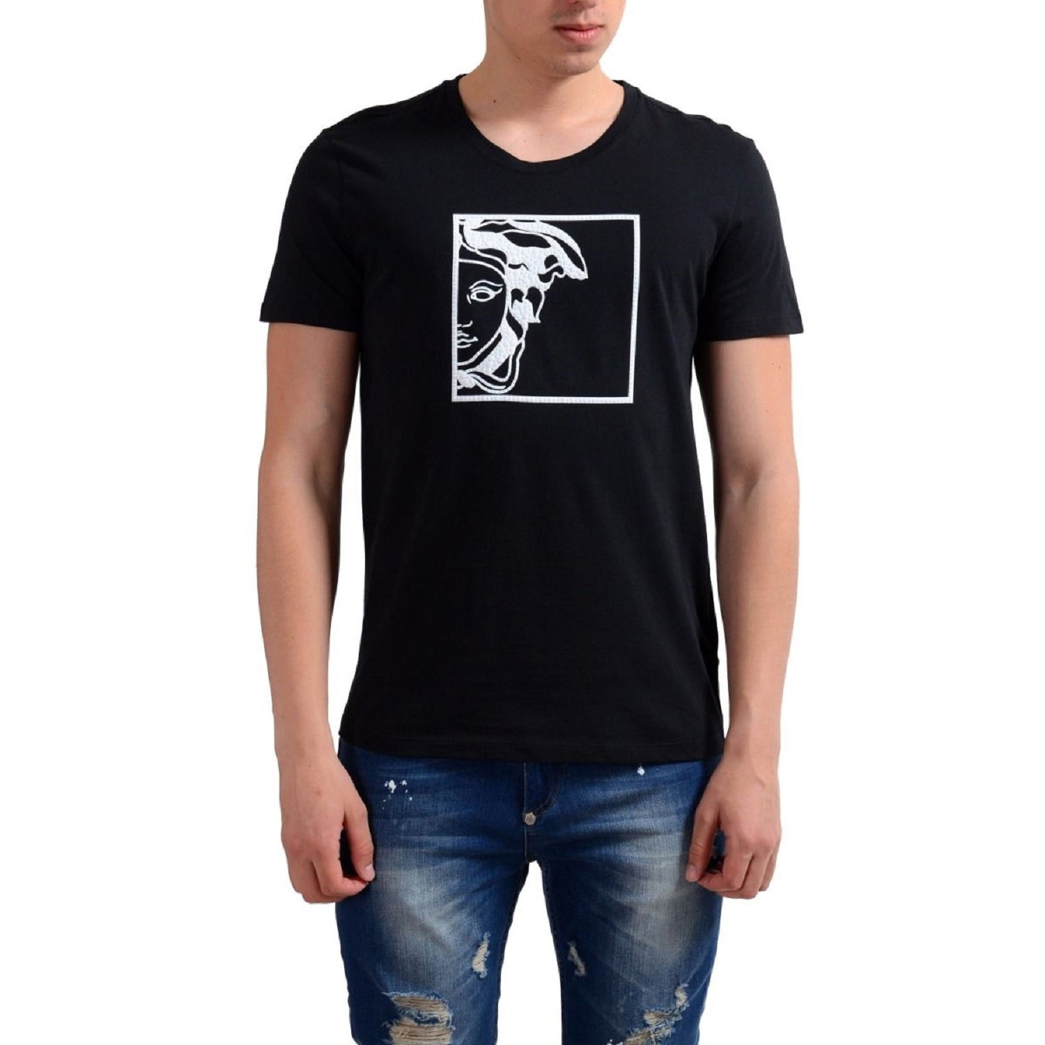 Shop Versace Collection Men s Half Medusa Black Cotton T-shirt - Free  Shipping Today - Overstock.com - 12140279 b2dce4cf300