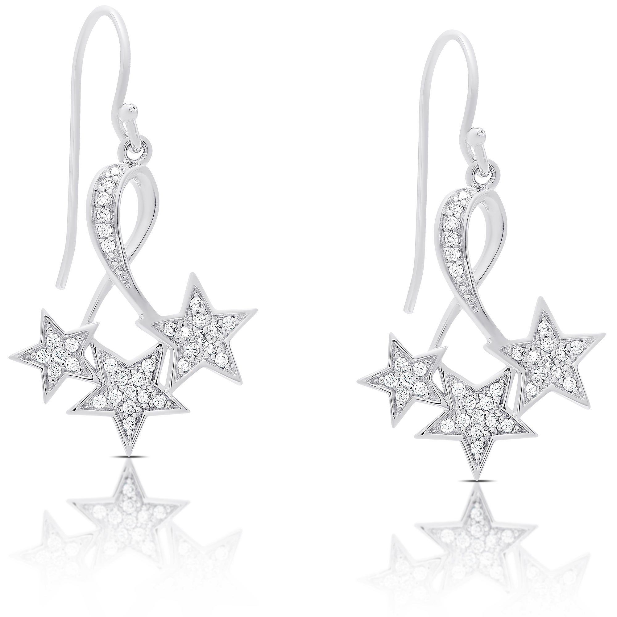 Dolce Giavonna Sterling Silver Cubic Zirconia Dangling Star Earrings On Free Shipping Orders Over 45 12140723