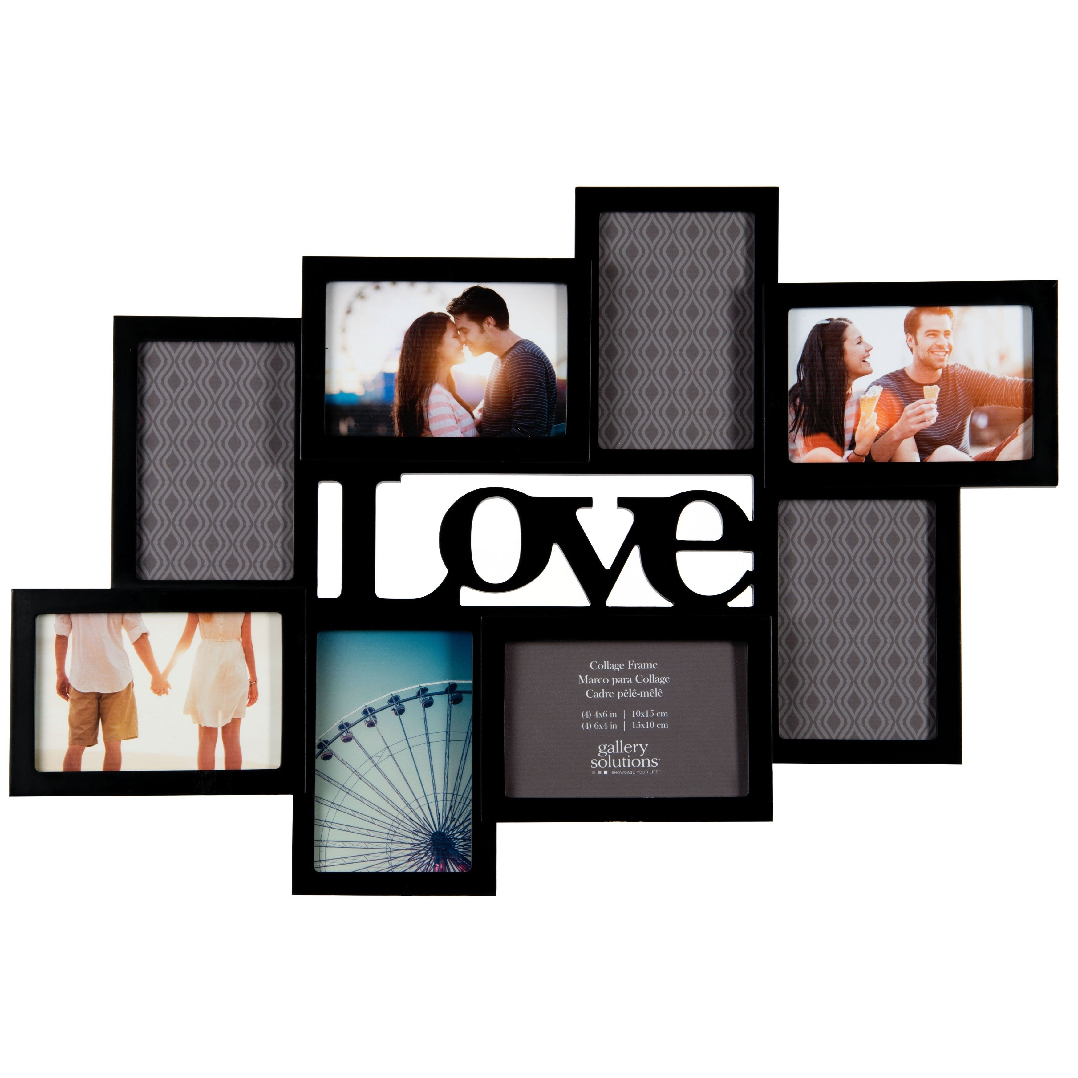 Shop Gallery Solutions \'LOVE\' Cutout Black Wood 8-opening Collage ...