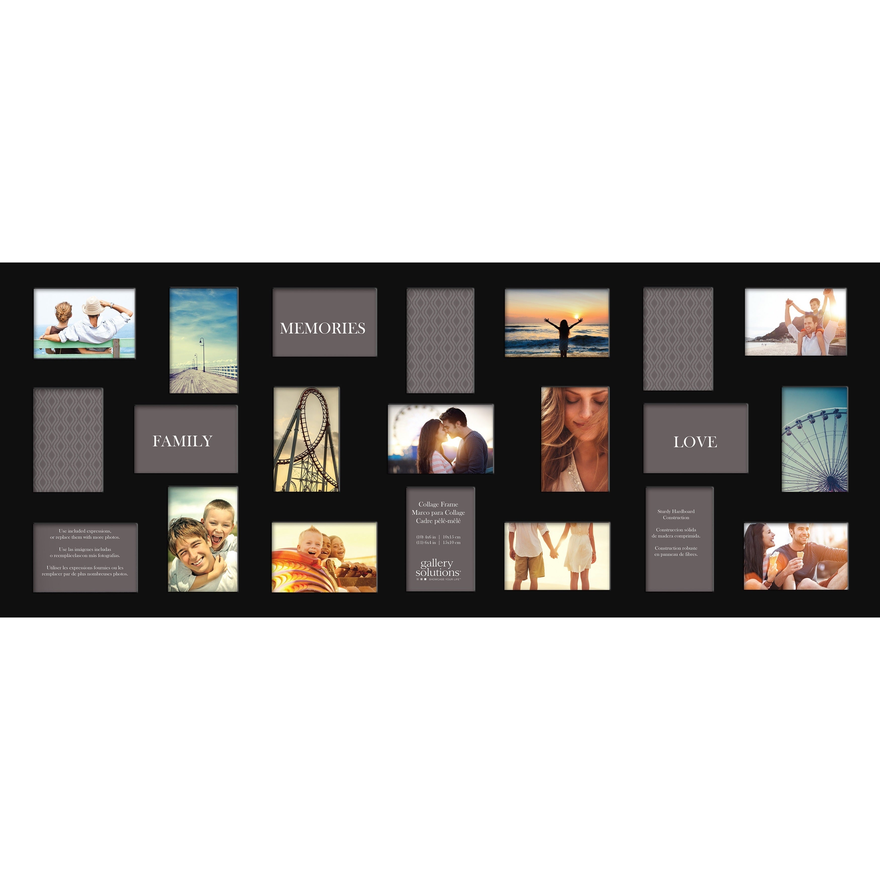 Shop Gallery Solutions Black 21-opening Collage Frame - Free ...