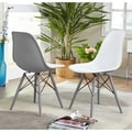 Simple Living Elba Two-tone White/ Grey Retro Plastic Shell Chair (Set of 2)