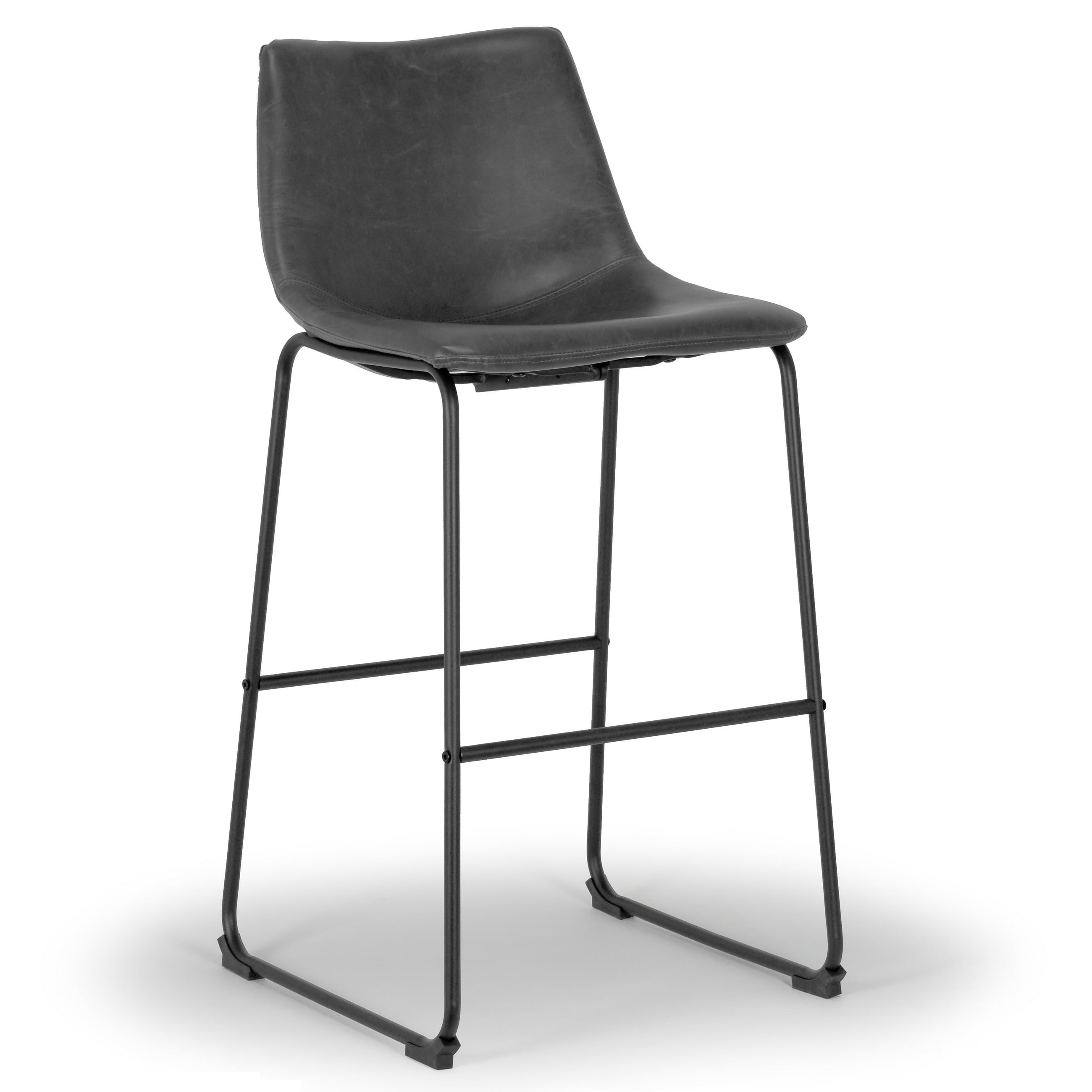 Shop Adan Faux Leather Iron Frame Bar Stool (Set of 2) - Free ...