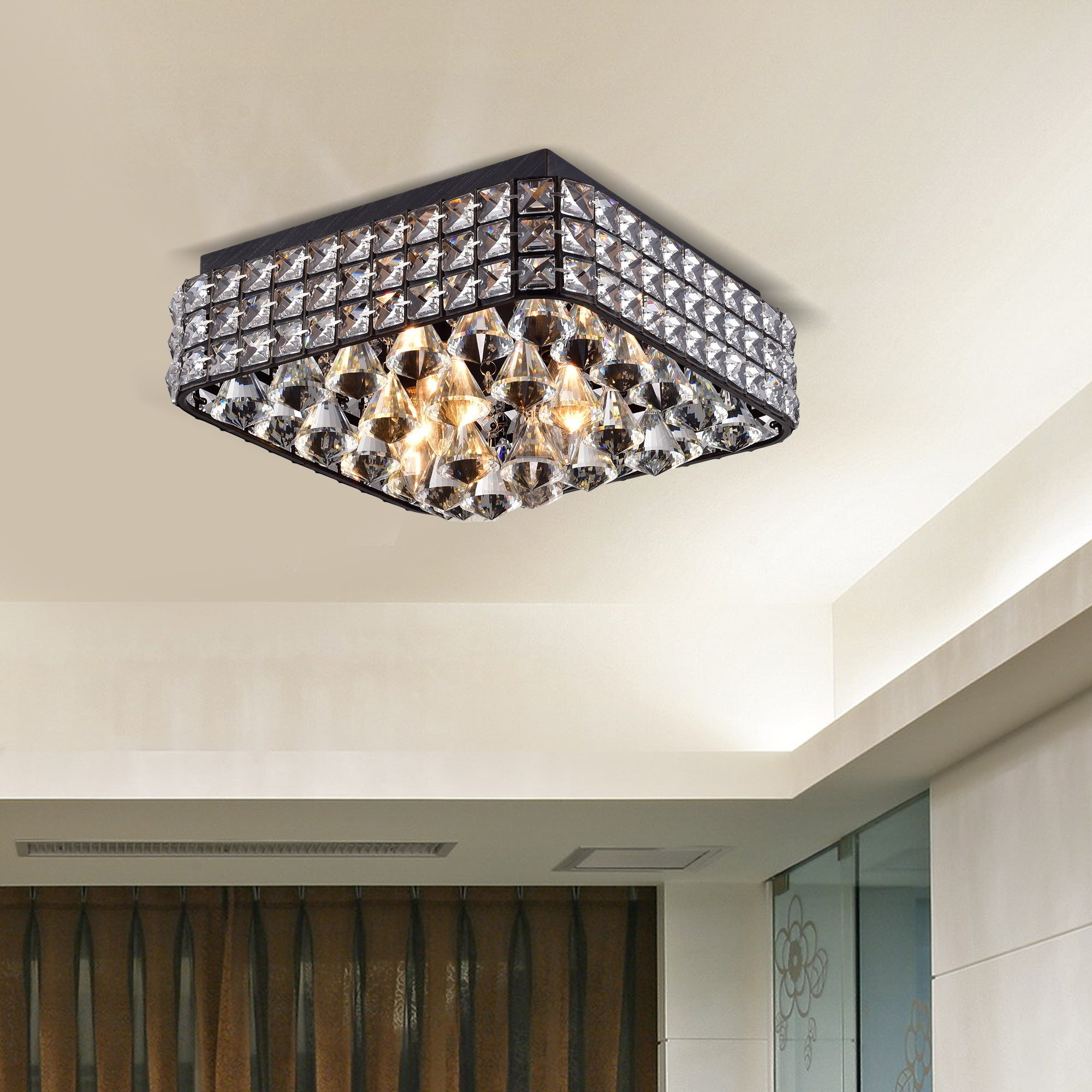 Gisela antique black ironmetalcrystal contemporary square flush gisela antique black ironmetalcrystal contemporary square flush mount chandelier free shipping today overstock 18999958 arubaitofo Image collections