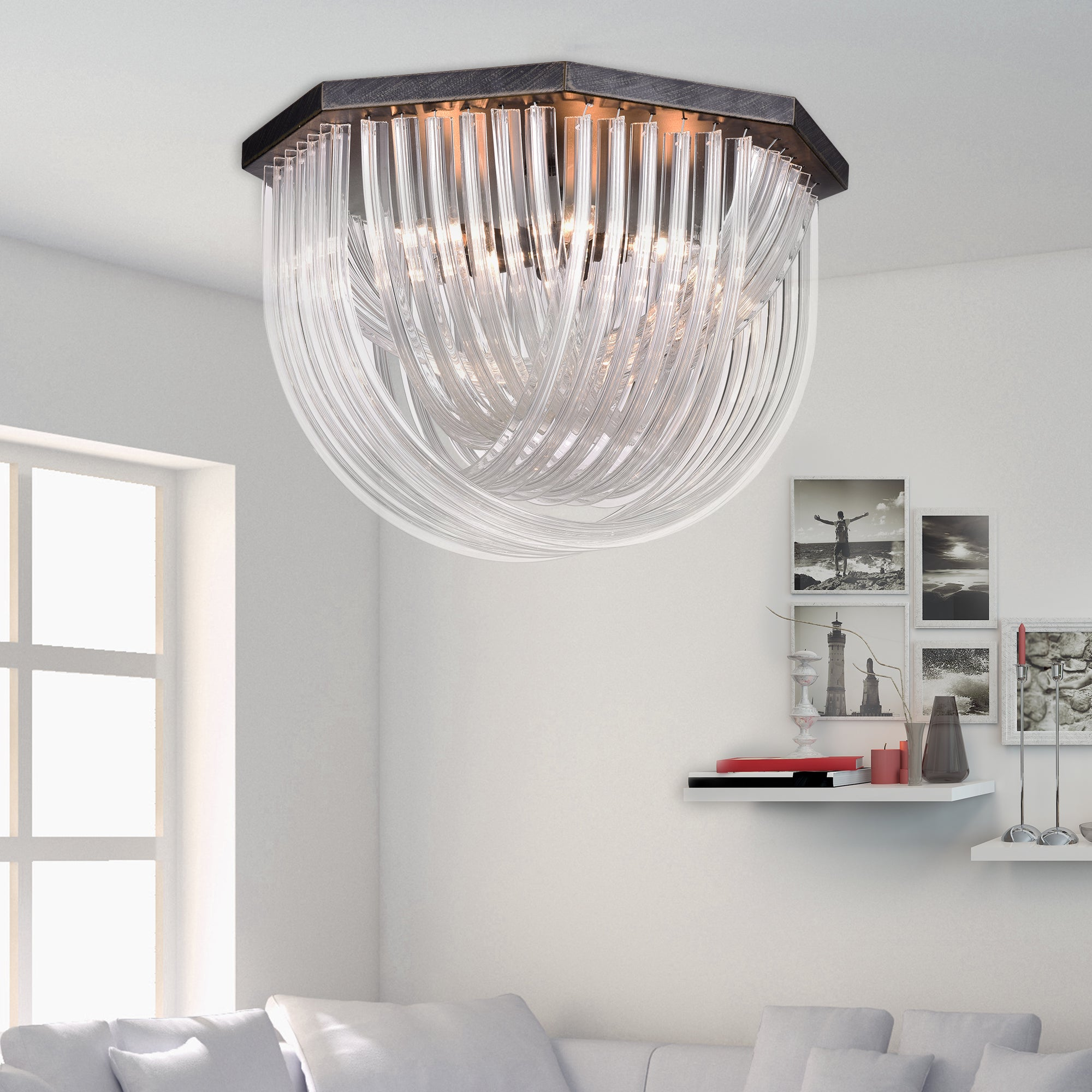 Samanta antique black overlapping curved glass 6 light flush mount samanta antique black overlapping curved glass 6 light flush mount chandelier free shipping today overstock 19000071 arubaitofo Image collections