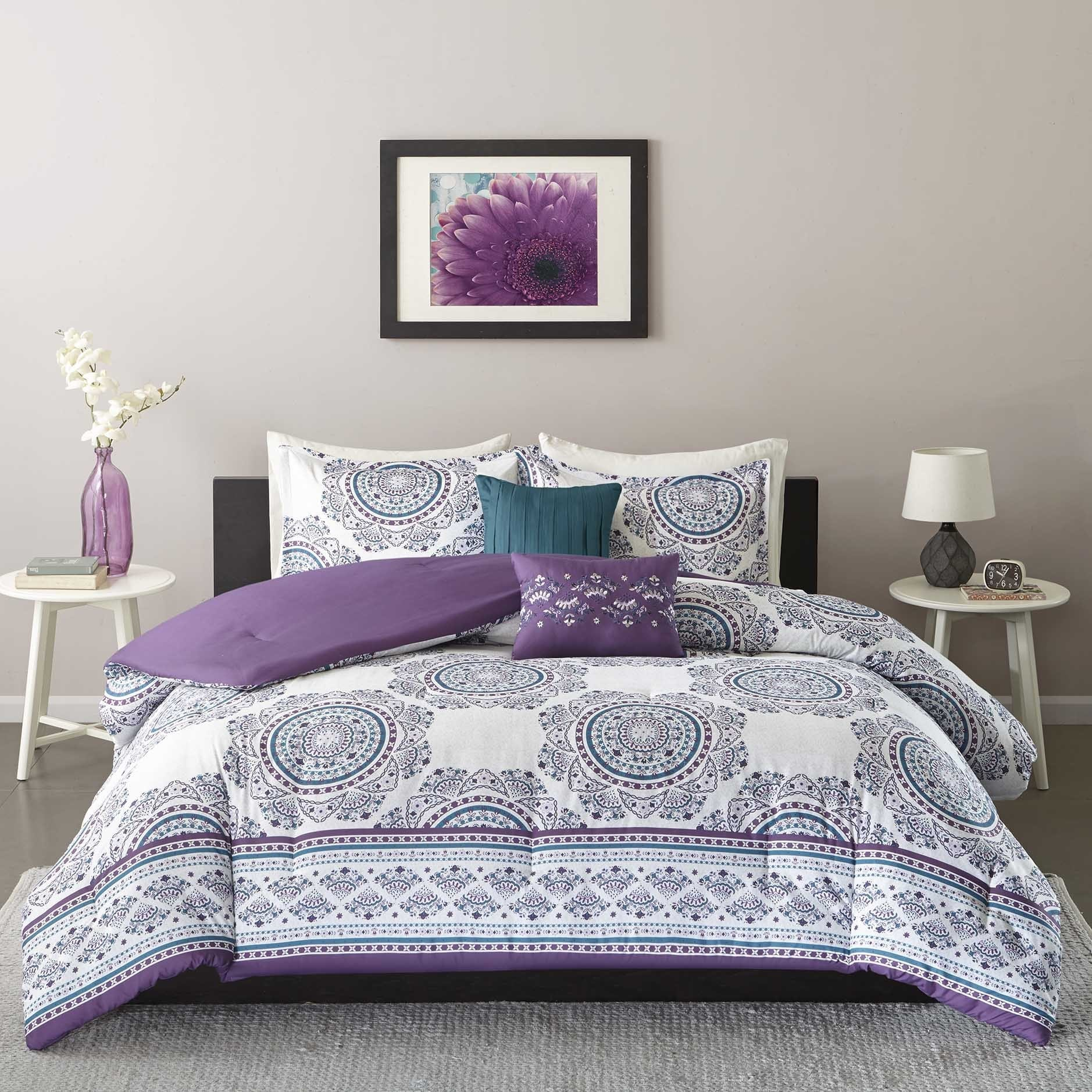 purple comforter reversible queen twin sheets set sets and bed pink