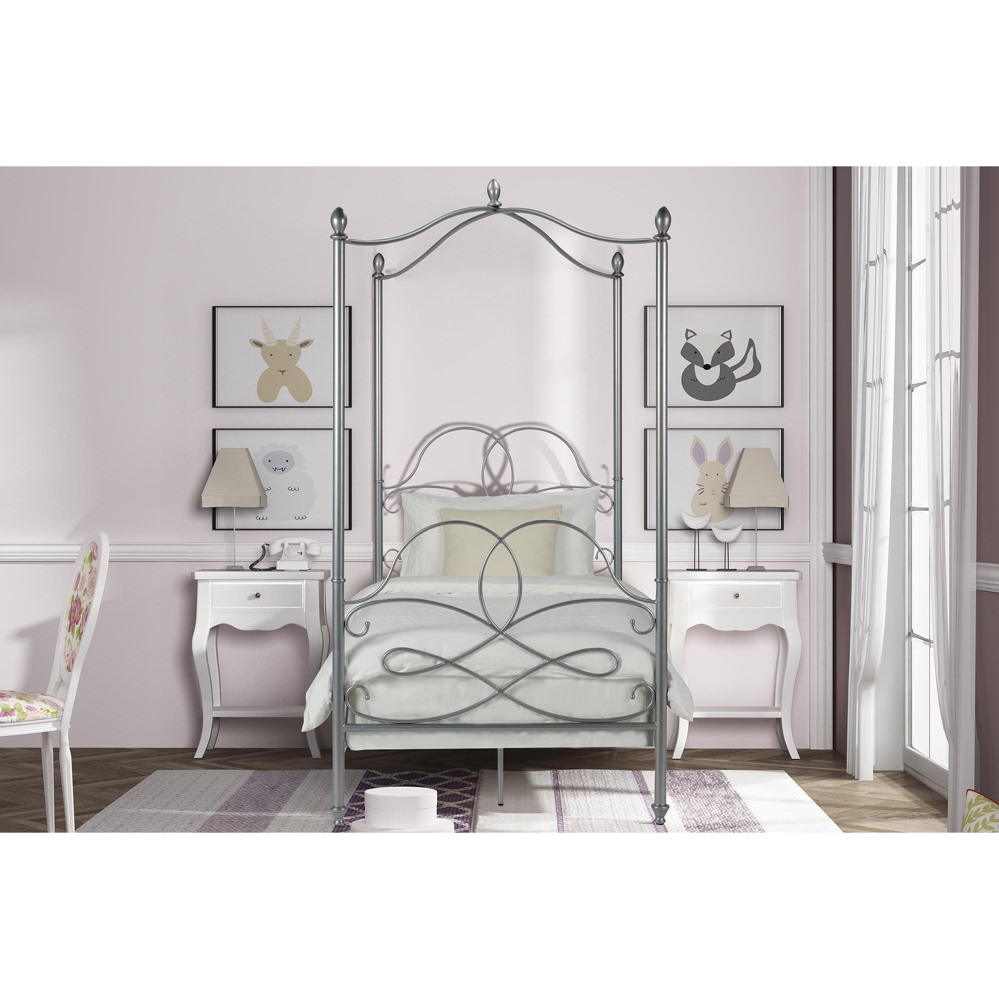 Shop DHP Fancy Silver Metal Canopy Twin Bed - Free Shipping Today ...