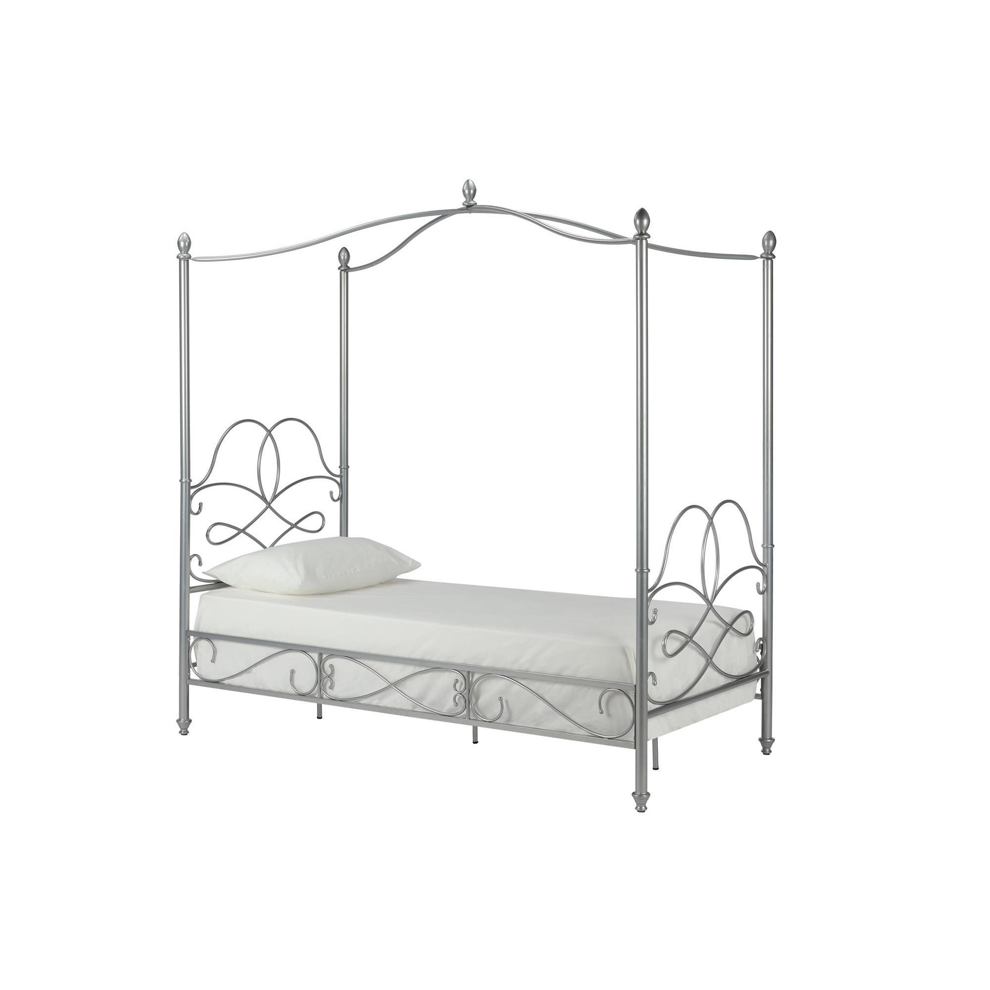 Shop DHP Fancy Silver Metal Canopy Twin Bed - Ships To Canada ...