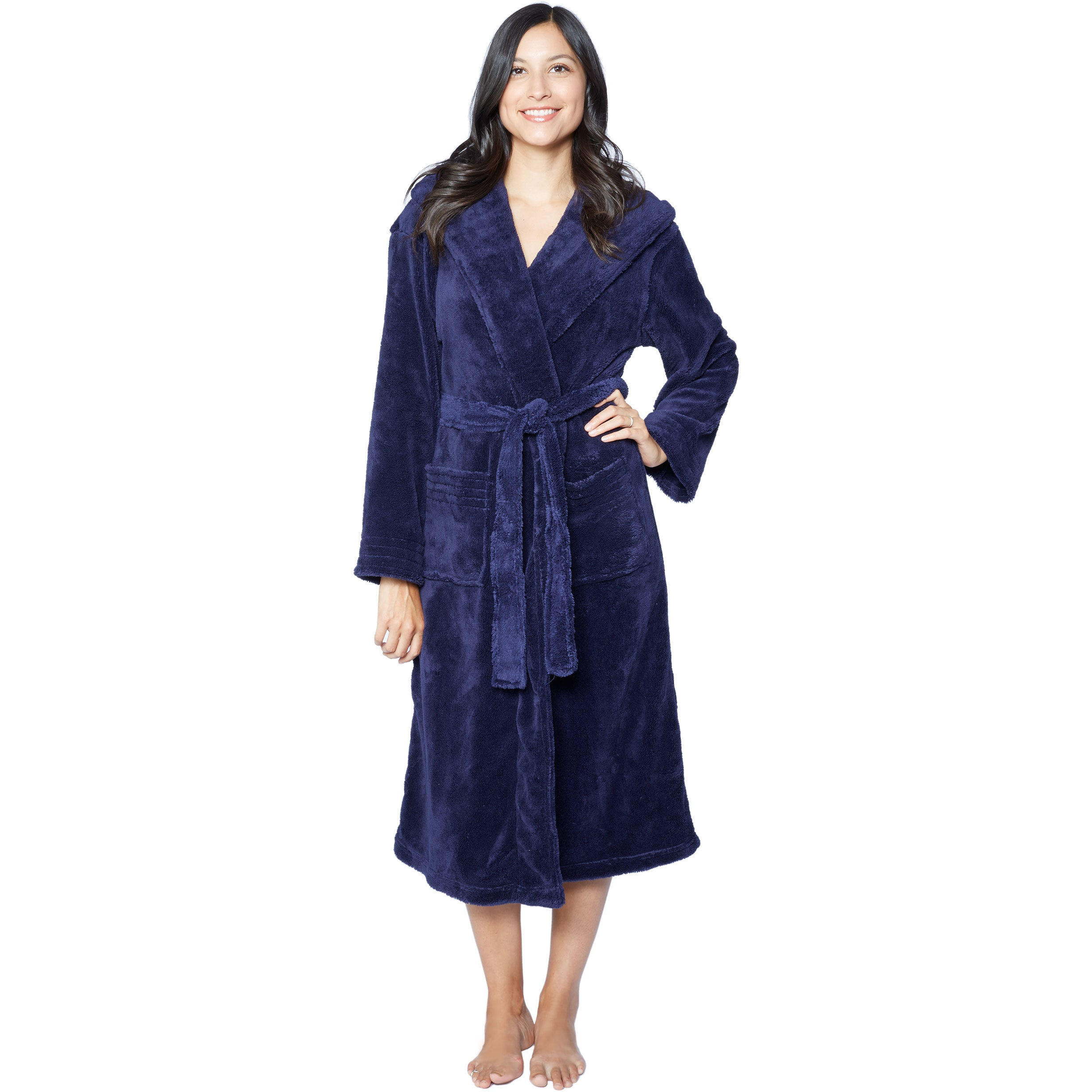 Shop Hooded Super Plush Microfiber Robe - Free Shipping On Orders ...