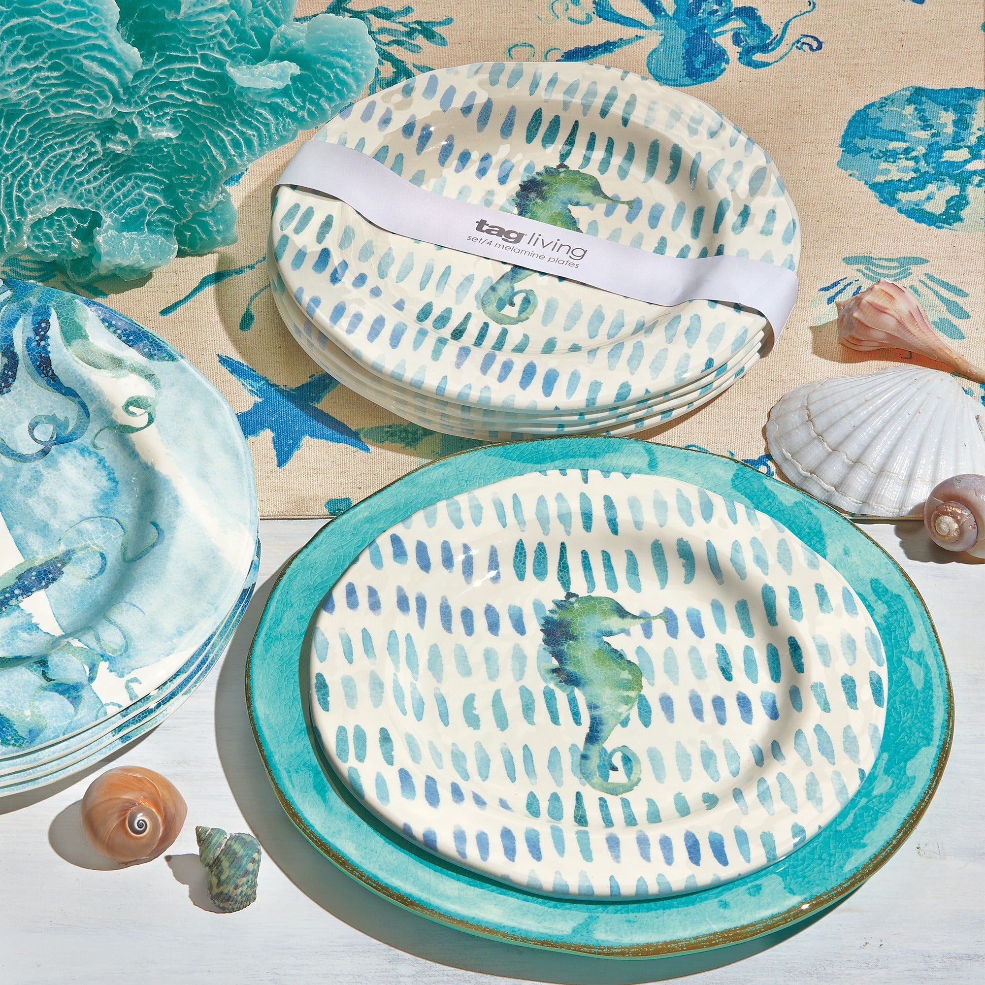 TAG Seahorse Melamine Salad Plates Ocean Blue - Free Shipping On Orders Over $45 - Overstock - 19005417  sc 1 st  Overstock & TAG Seahorse Melamine Salad Plates Ocean Blue - Free Shipping On ...