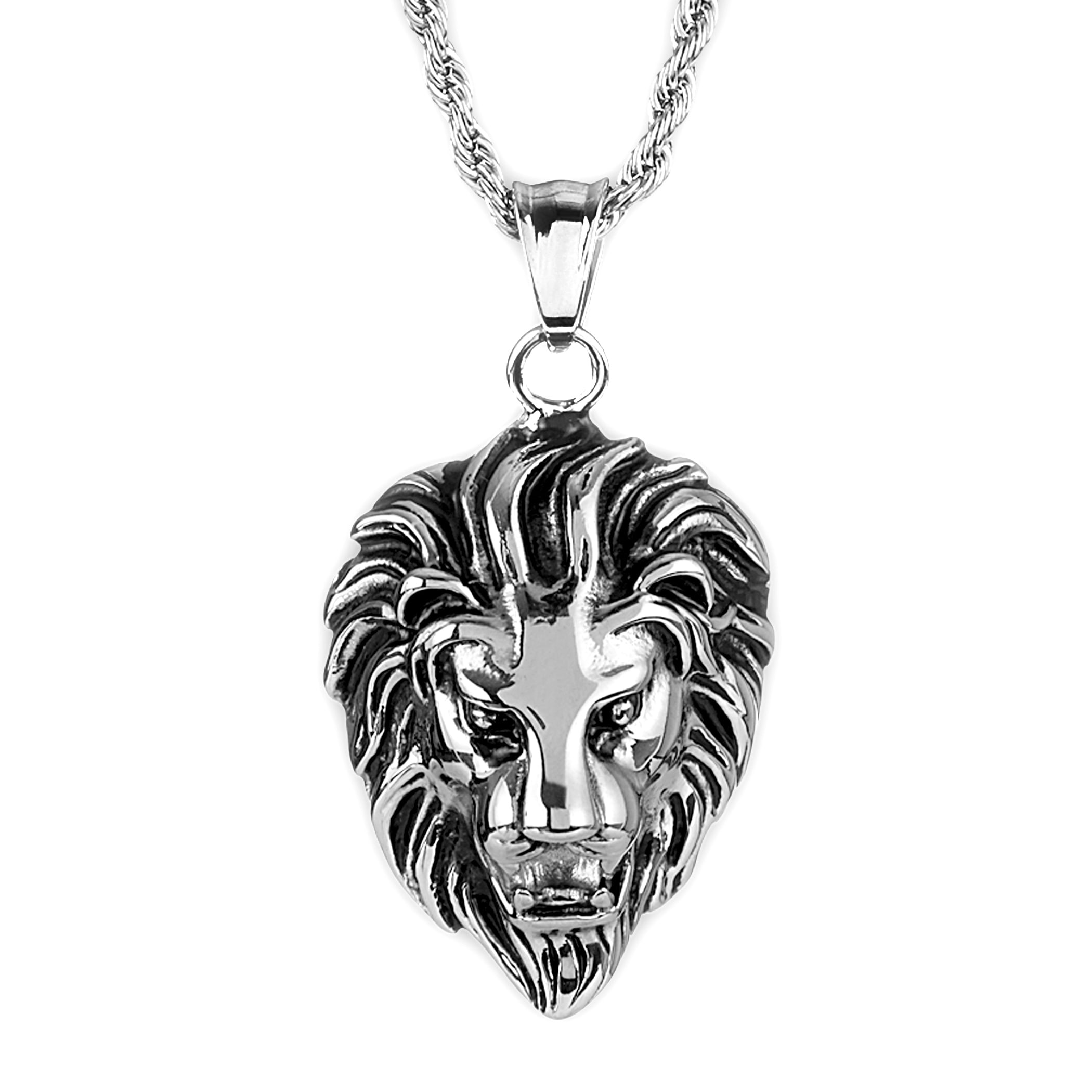 jewelry s with dp men necklace steel jewellery crystal charm uk amazon women silver pendant stainless chain beads co for lion