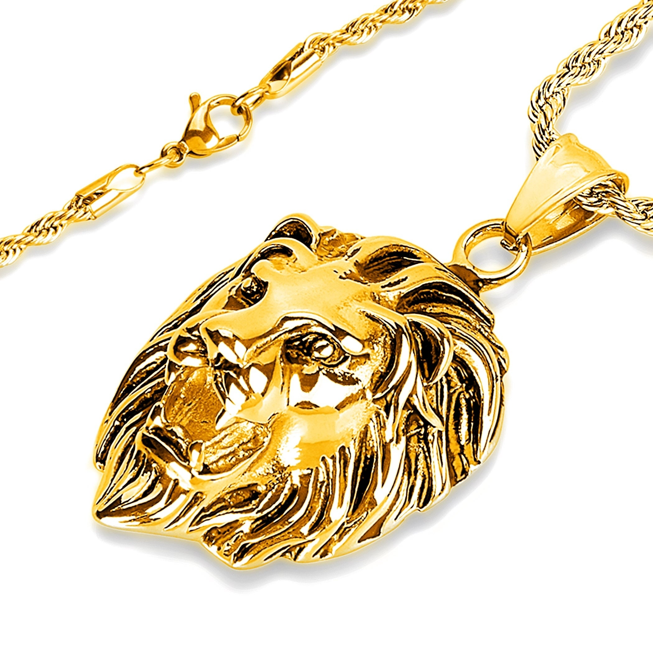 51050694f25ec Shop Crucible Polished Stainless Steel Lion Head Pendant Necklace - 24