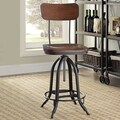 Carbon Loft Baird Black/Chestnut Metal/Wood Adjustable Stool