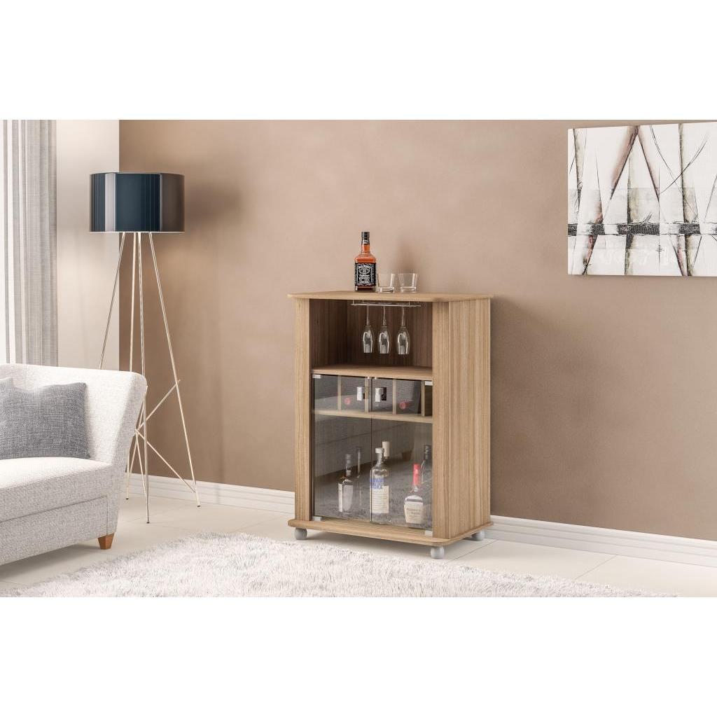 Shop Boahaus 2-glass Door Brown Mini Bar and Wine Rack - On Sale ...