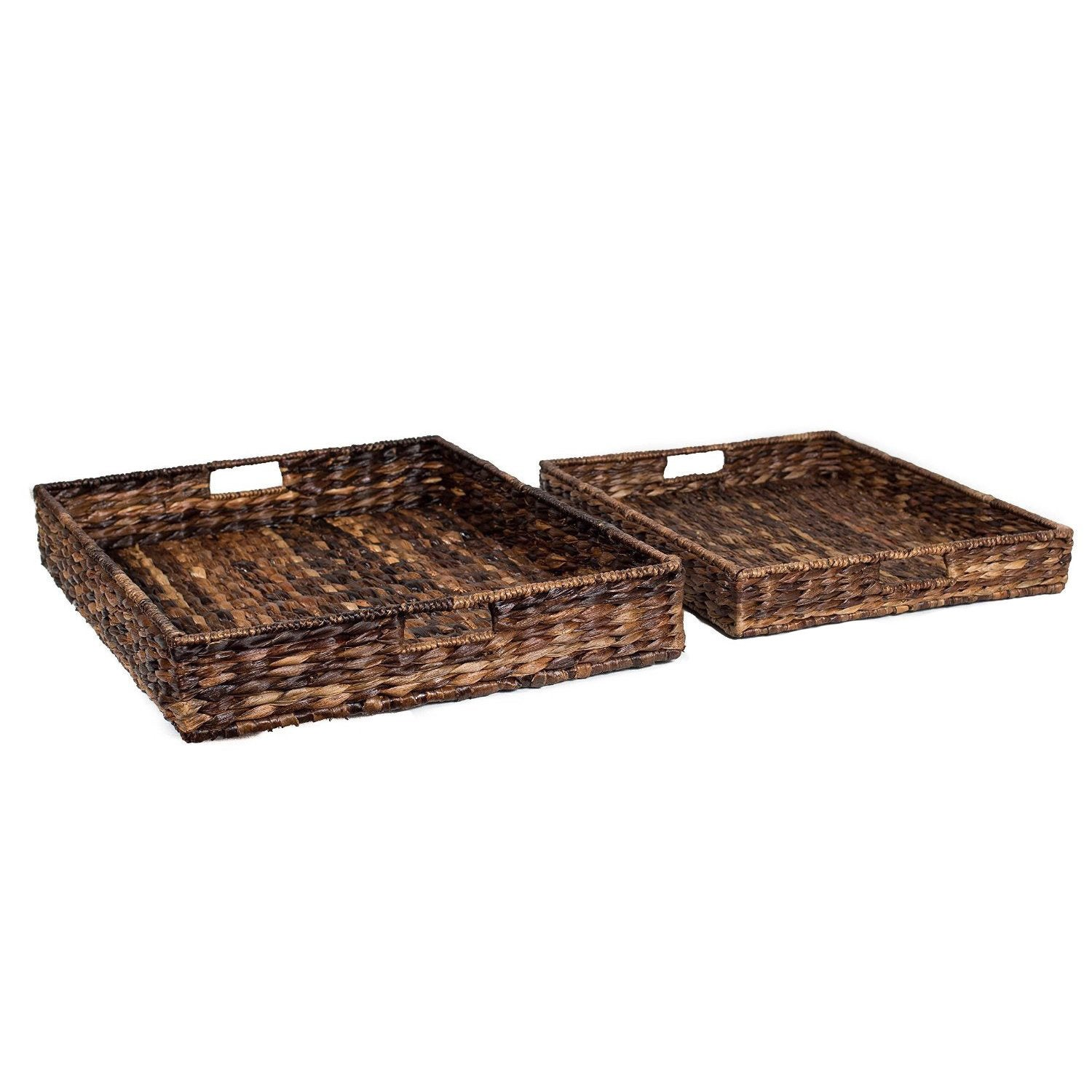 Shop BirdRock Home Brown Woven Seagrass Serving Trays (Set of 2 ...