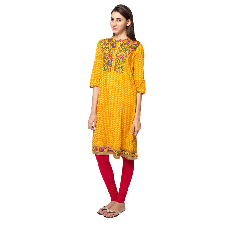 54fa8e31847 Shop Handmade In-Sattva Ethnicity Women s Diamond Print Kurta Tunic with  Colorful Paisley Yoke (India) - Free Shipping On Orders Over  45 -  Overstock - ...