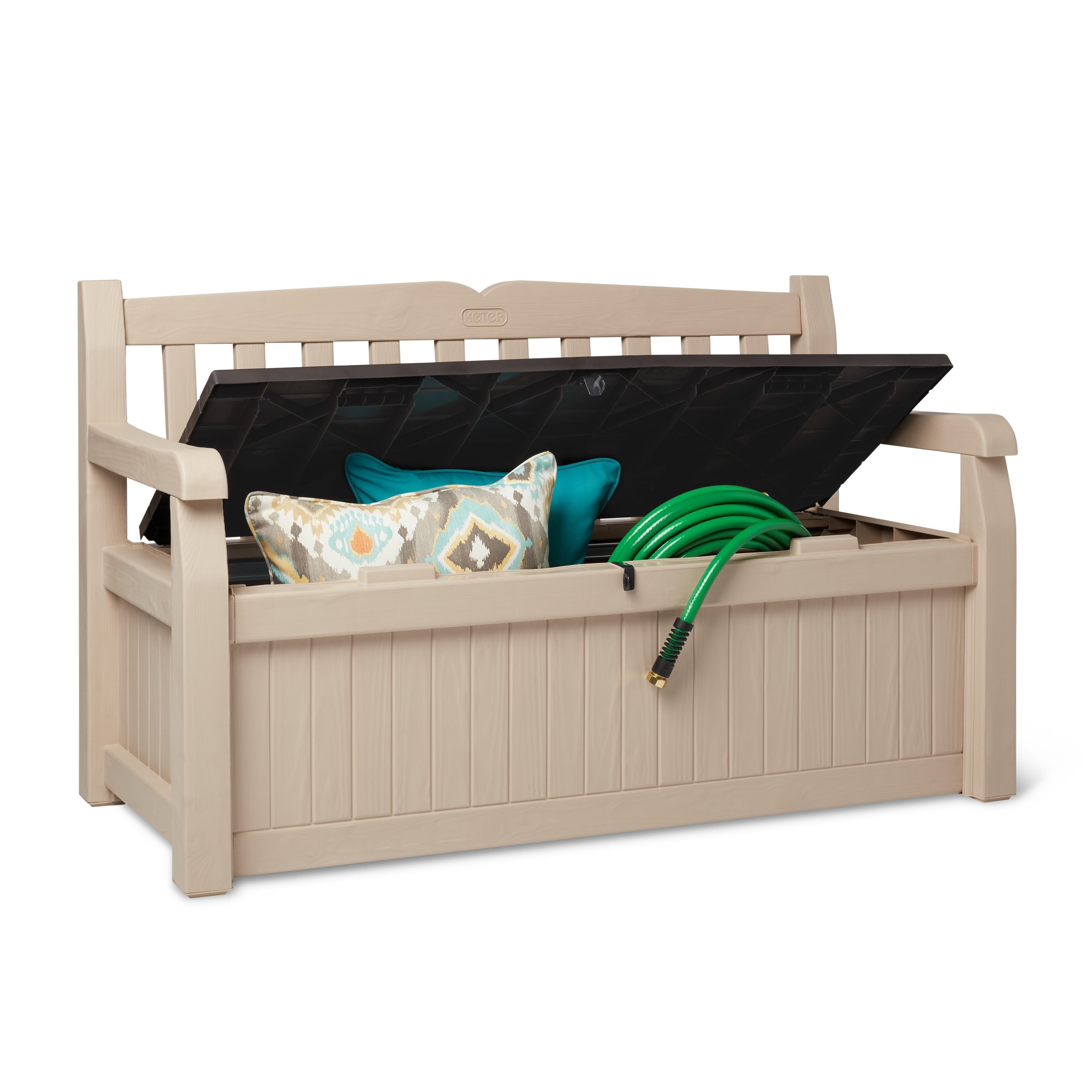 x w wood look cushion storage capacity h box plastic dp litre multistore bench l garden cm
