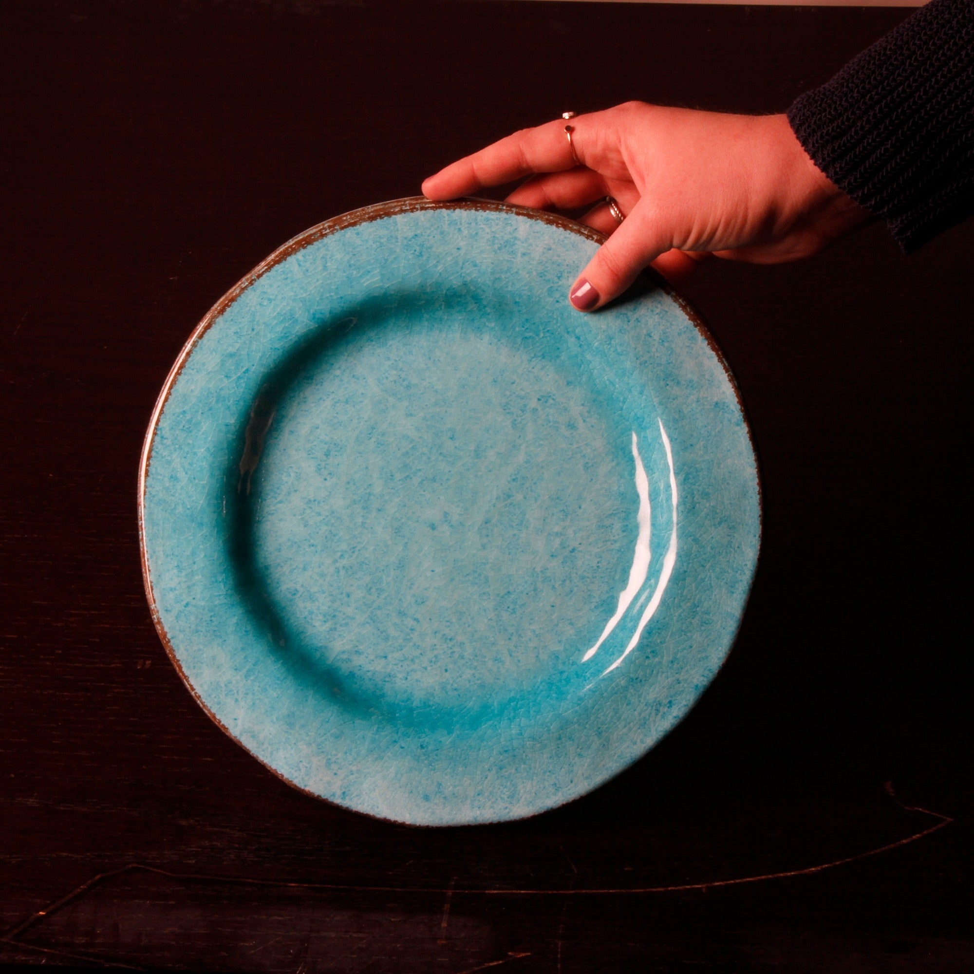 TAG Veranda Melamine Dinner Plates Ocean Blue - Free Shipping On Orders Over $45 - Overstock - 19024278 & TAG Veranda Melamine Dinner Plates Ocean Blue - Free Shipping On ...