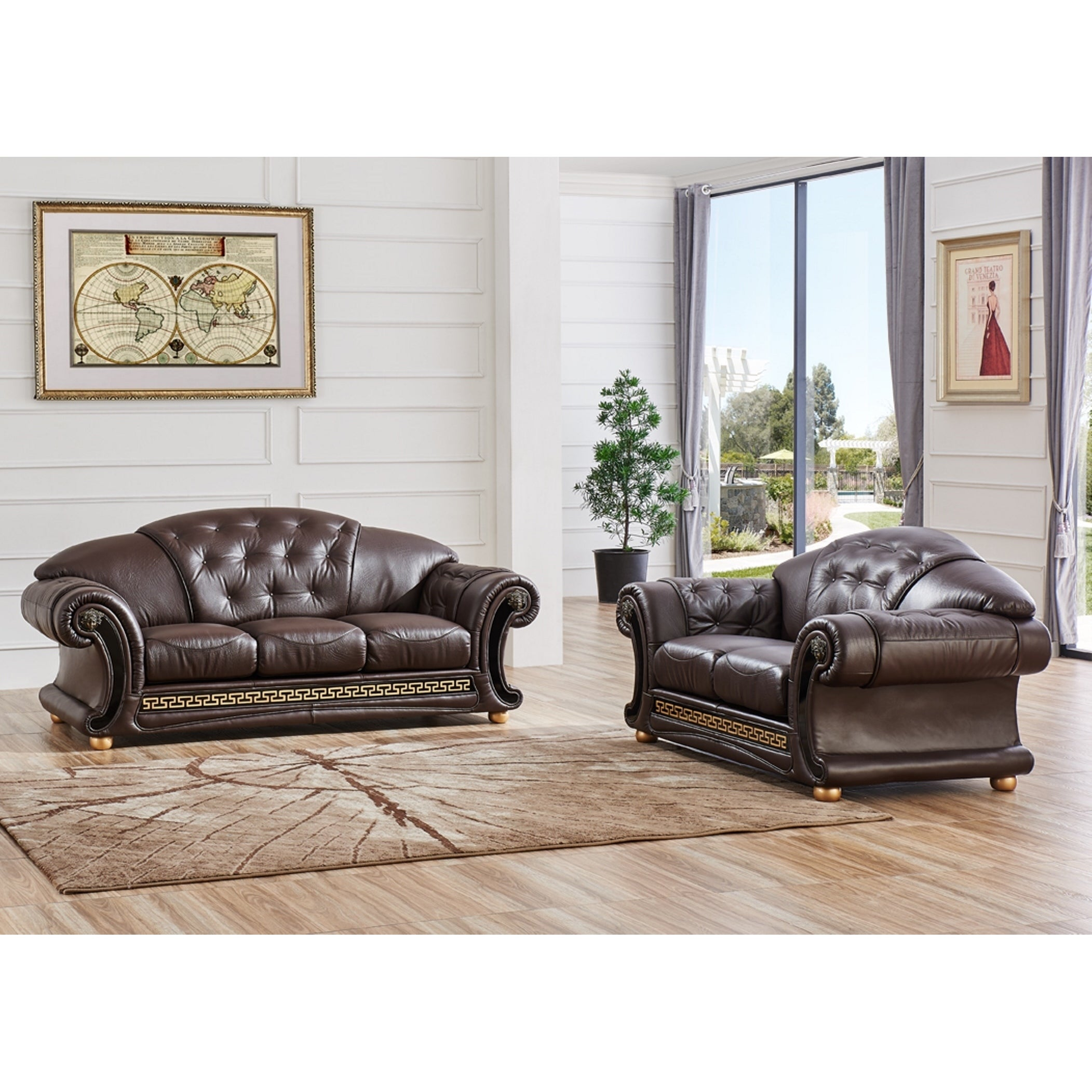 LUCA Home 2-piece Split Brown Leather Living Room Set - Free ...