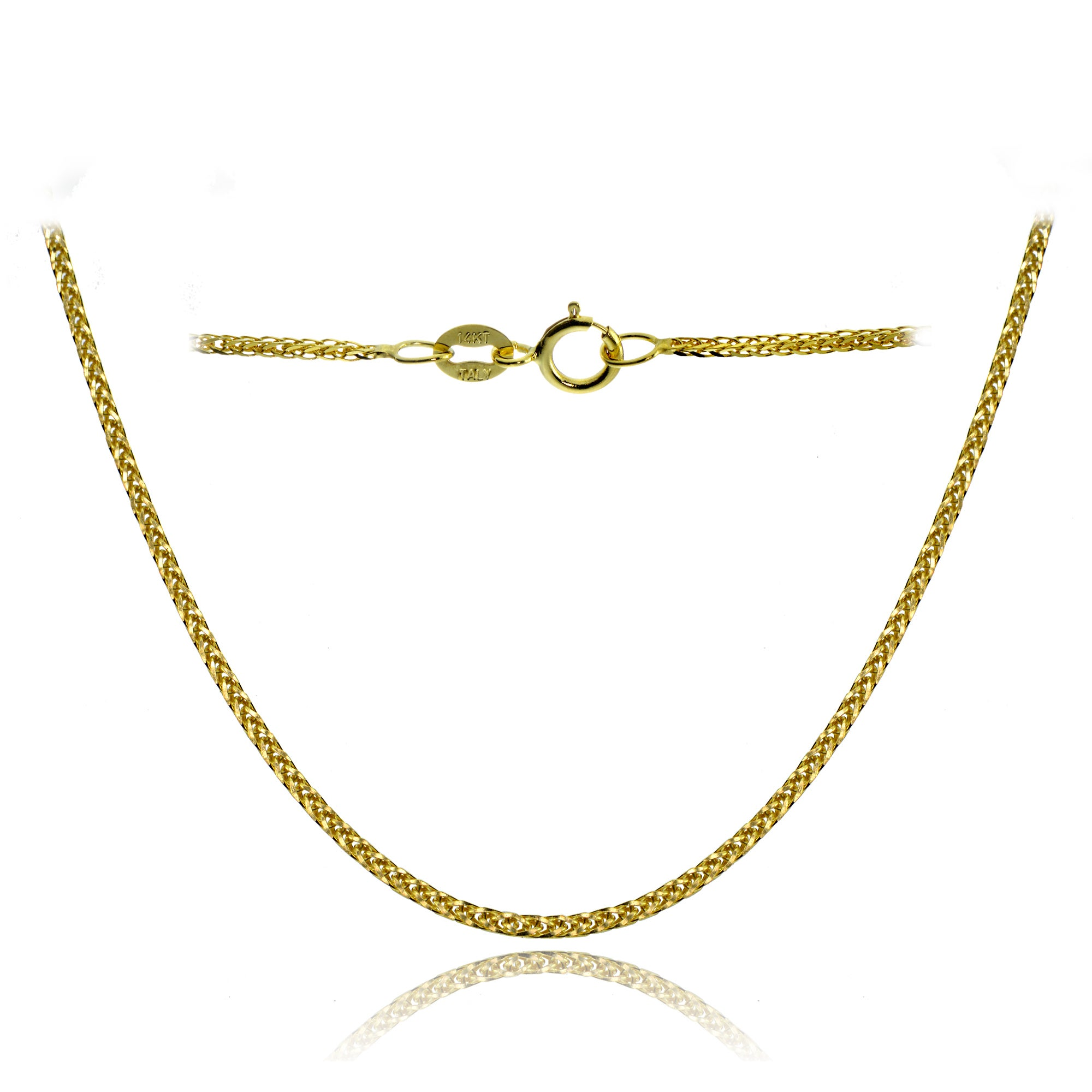 bd720e8b9fb5 Shop Mondevio 14k White Gold .8mm Spiga Wheat Italian Chain Necklace ...